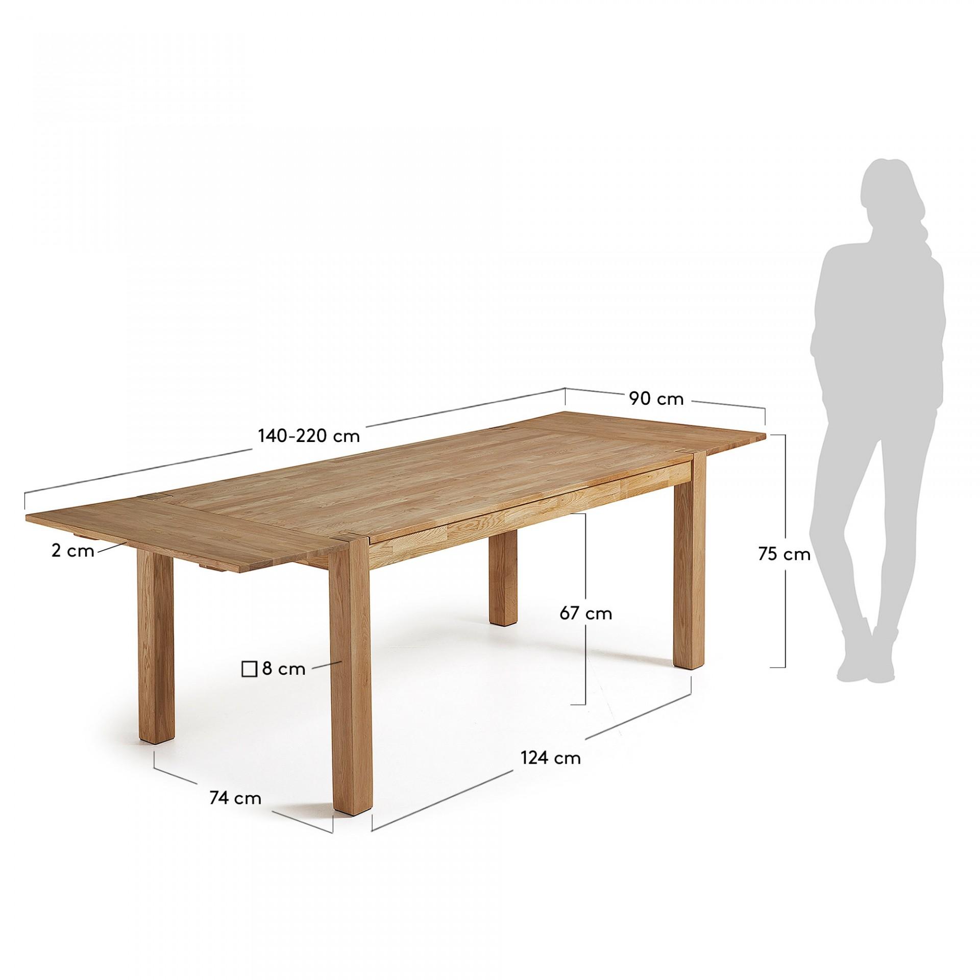 Mesa extensível Isel, madeira de carvalho, 140(220)x90