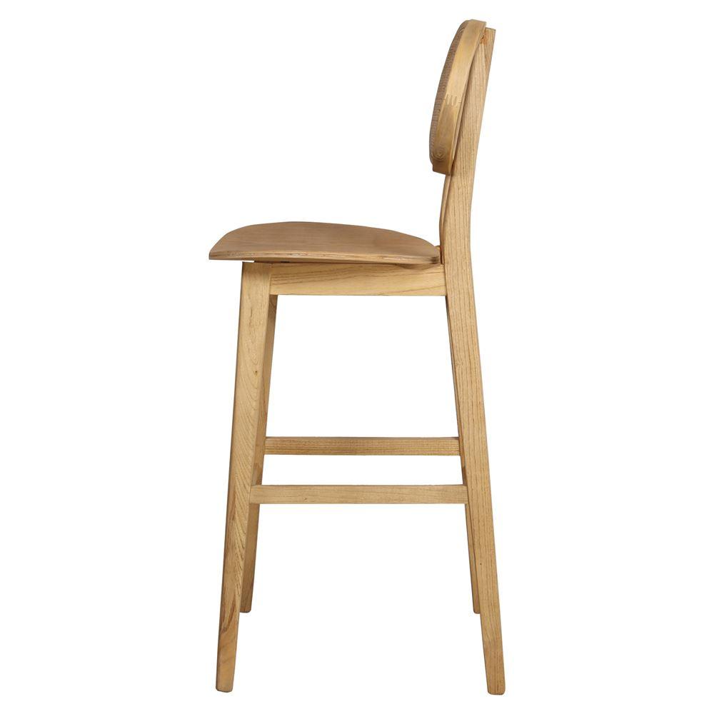 Cadeira de bar Senna, madeira de olmo/vime, 77cm