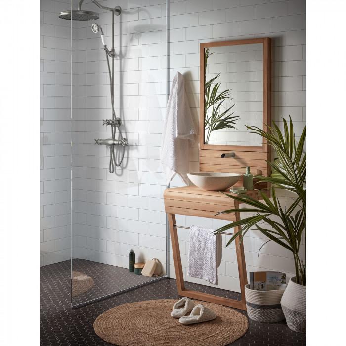 Móvel Kuvan, p/casa de banho, madeira teca, terrazzo