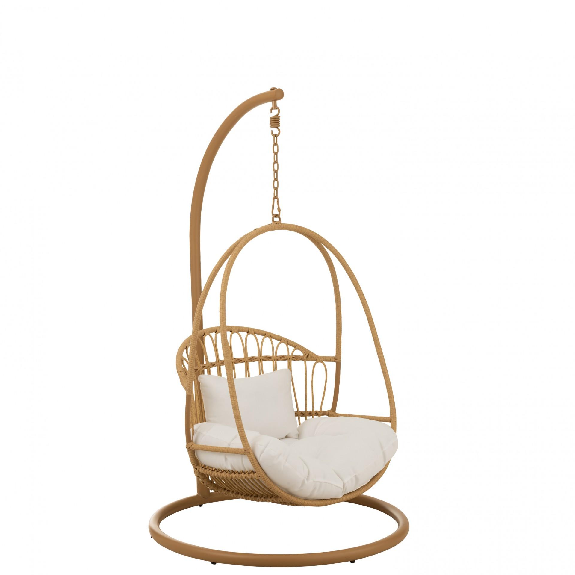 Cadeira suspensa infantil, metal/vime, castanho, 103x93x155