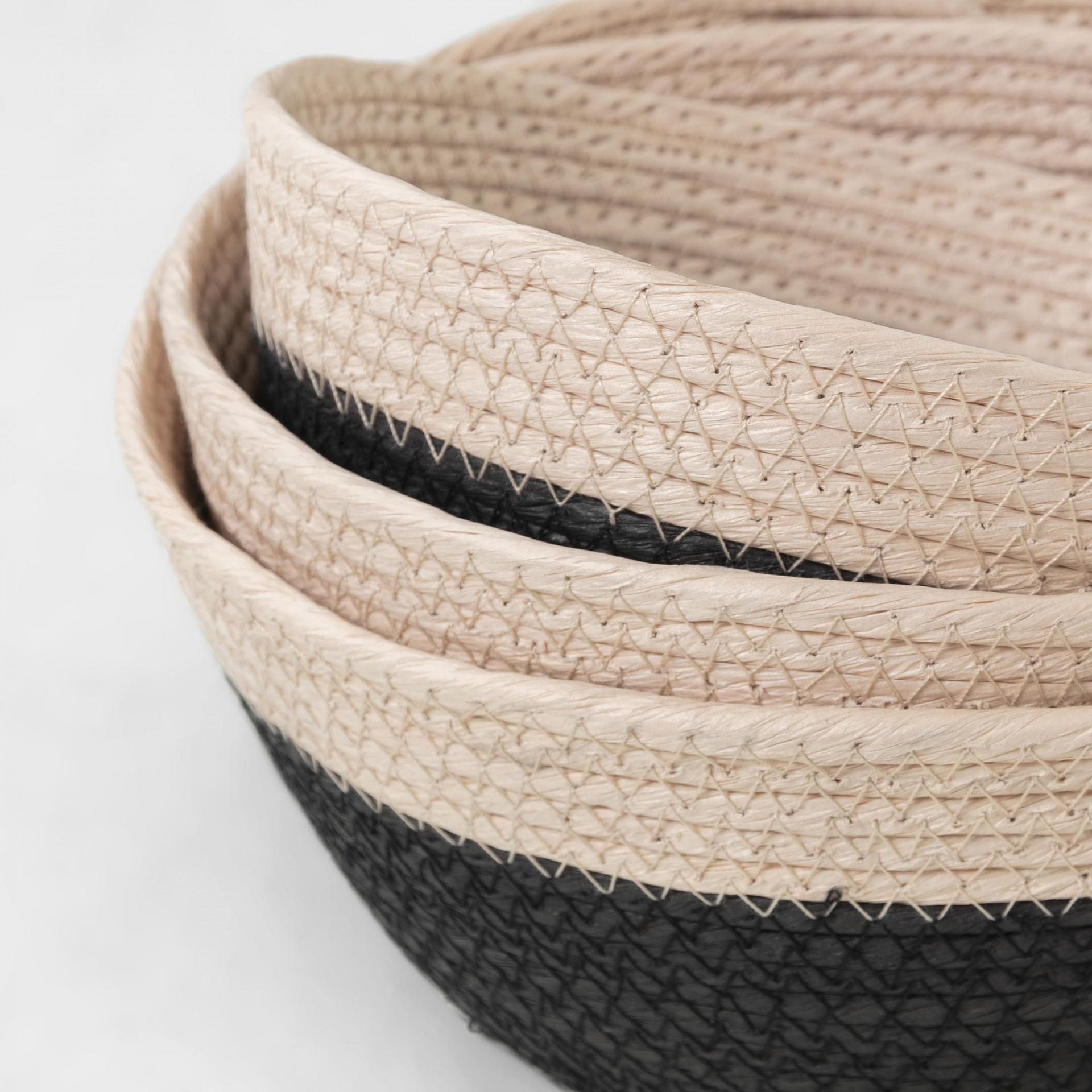 Cestas Kina, corda de papel, preto/bege, (Conj.3)