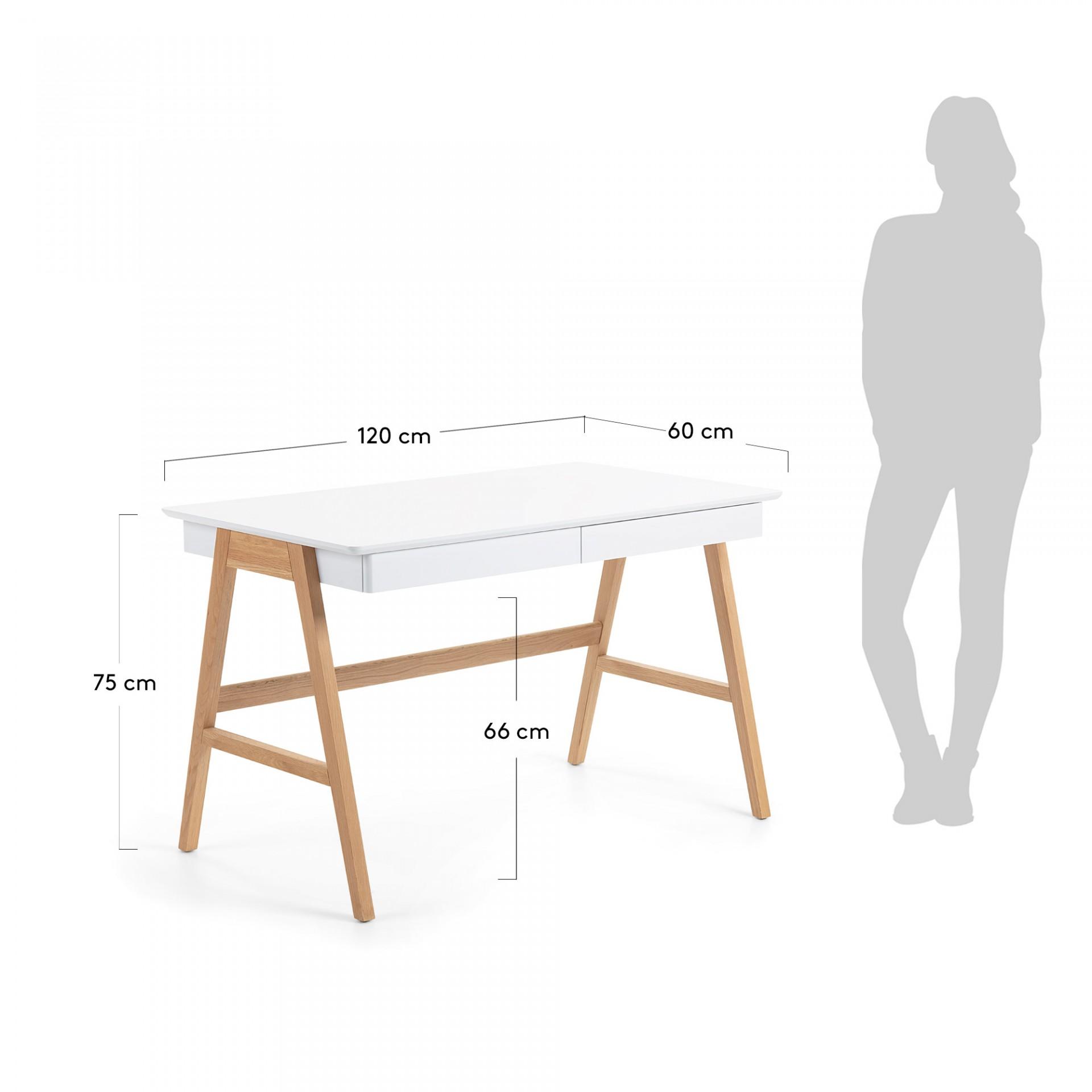 Secretária Dyna, madeira de carvalho/MDF lacado, 120x75