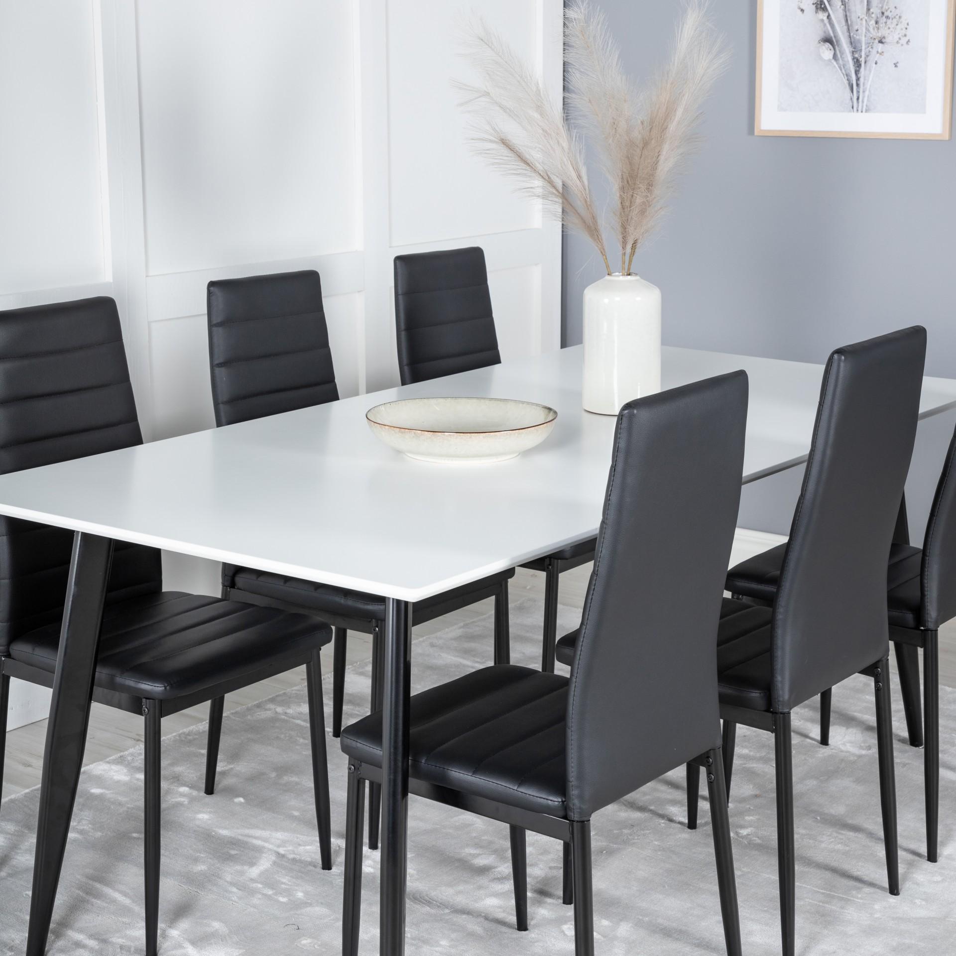 Mesa de jantar Polar, MDF/metal, branco/preto,180x90
