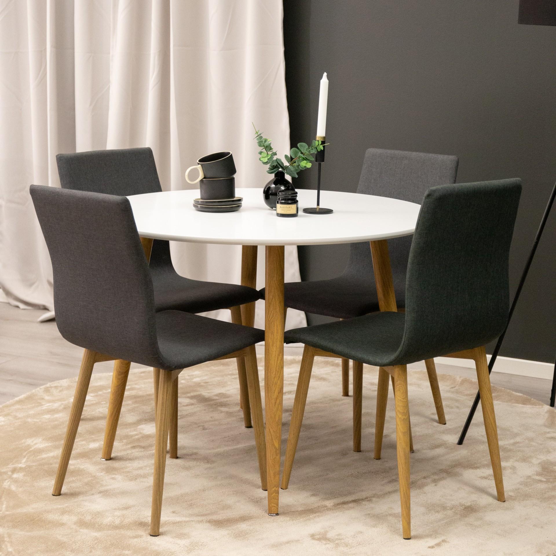 Mesa de jantar Plaza, MDF/metal, branco, Ø100x75