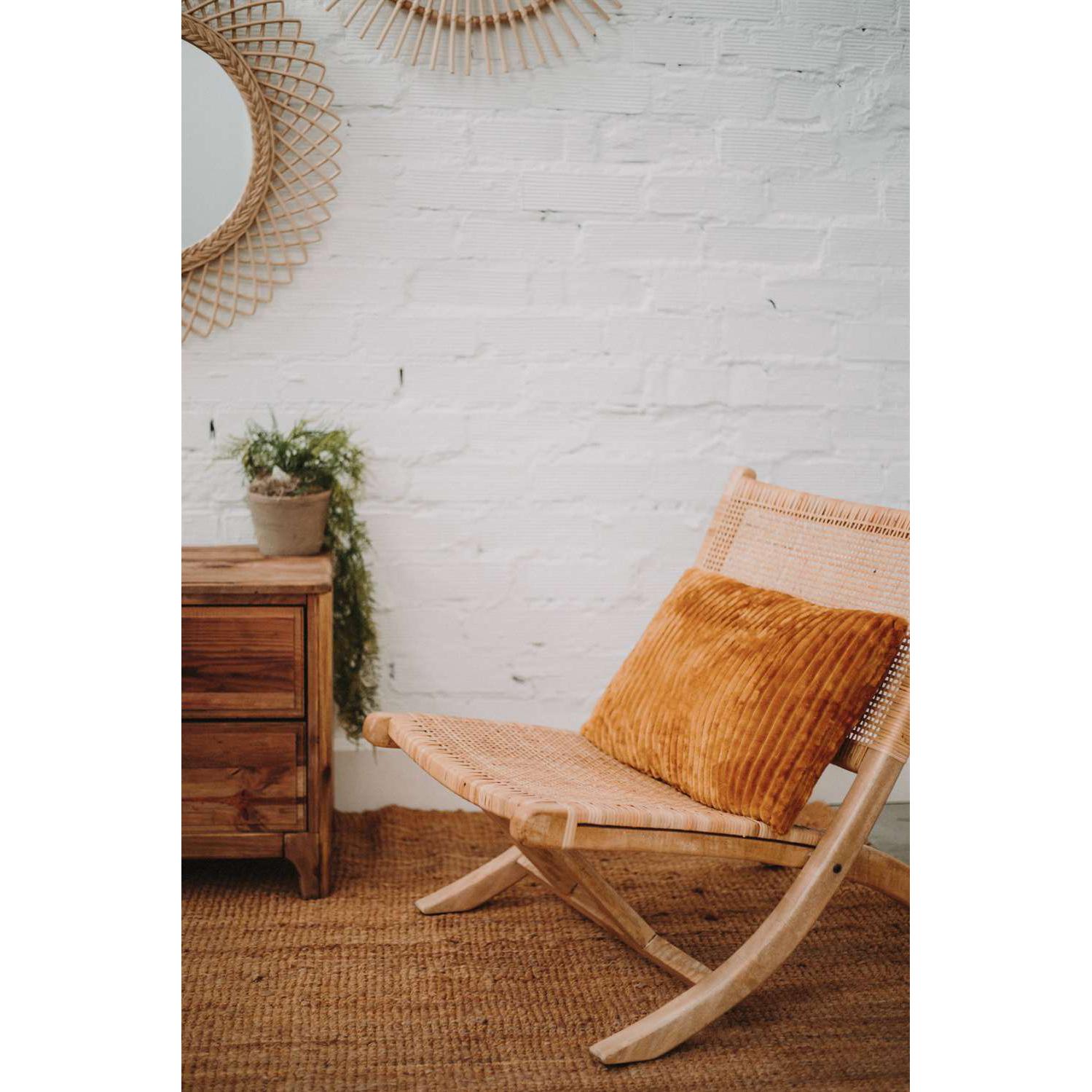 Cadeirão Bergo, dobrável, madeira manga/corda de algodão, 77x53x80