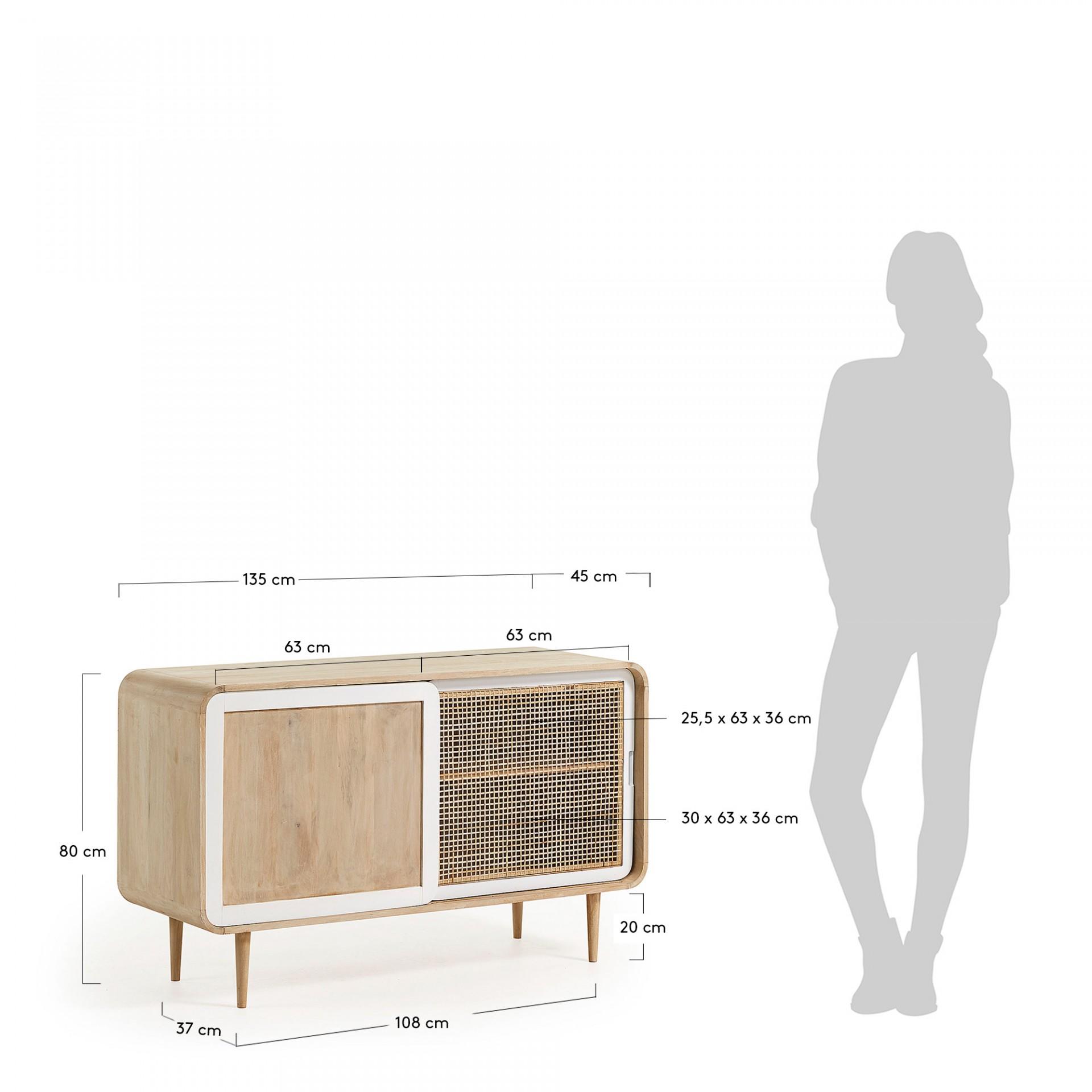 Aparador Geo, madeira de manga/vime, 135x80