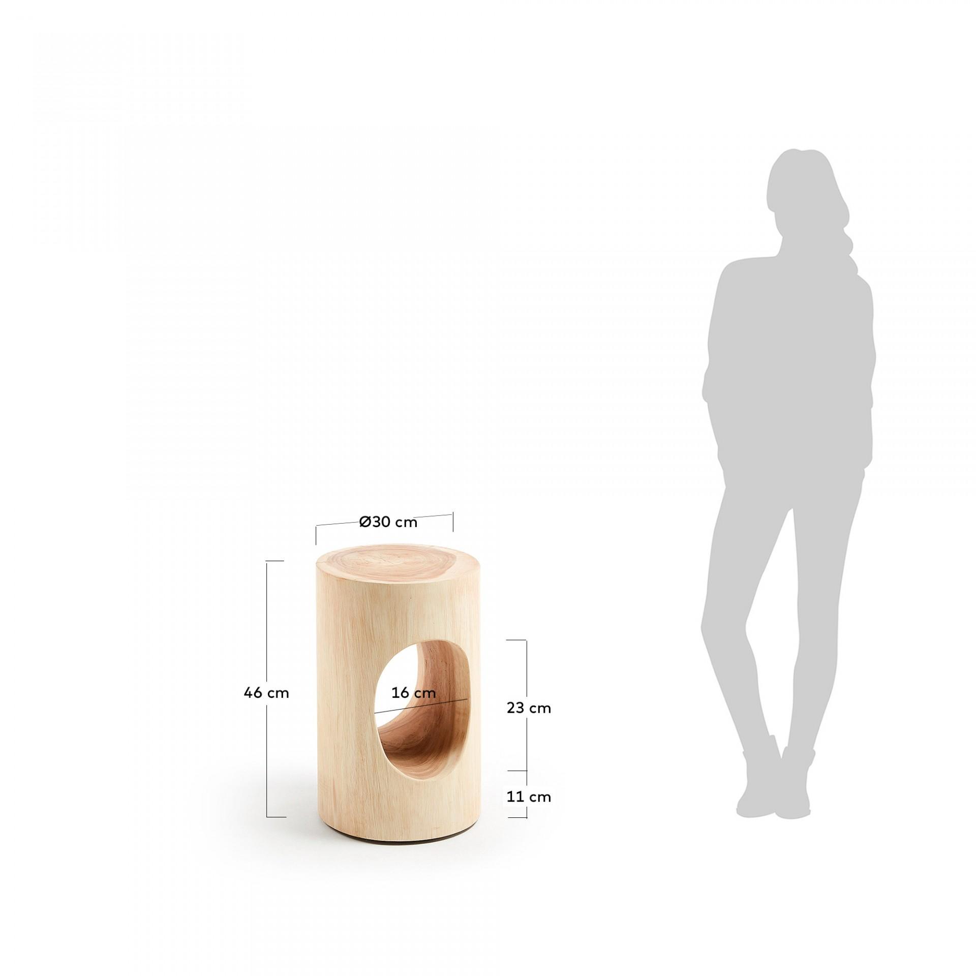 Mesa de apoio Nero, madeira de munggur natural, Ø30x46