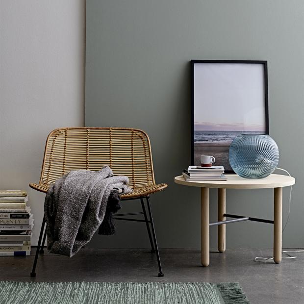 Mesa de apoio Minal, madeira de carvalho natural, Ø60x42