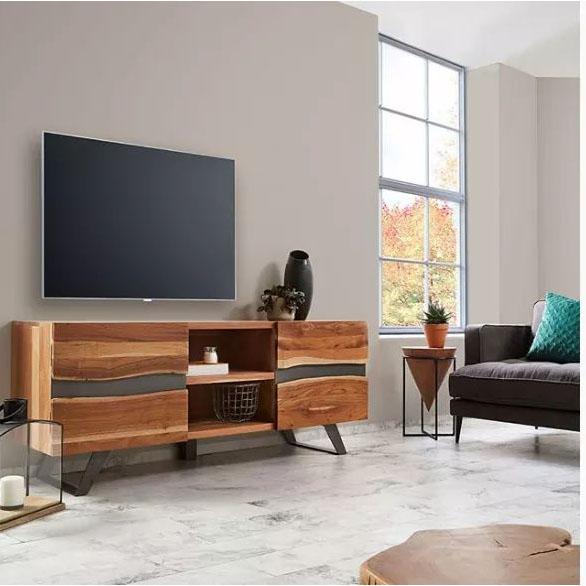 Mesa de apoio Raw, madeira de acácia/metal, Ø31x50