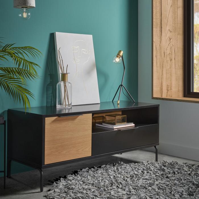 Móvel TV Sava, madeira de carvalho/MDF lacado, 120x50