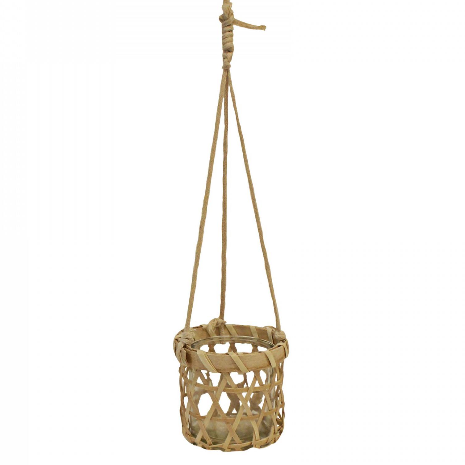 Vaso suspenso, vidro/bambu