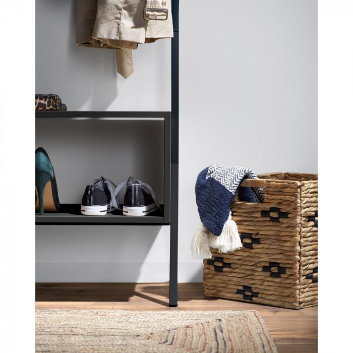 Manta Genni, c/franjas, azul/branco, 170x130