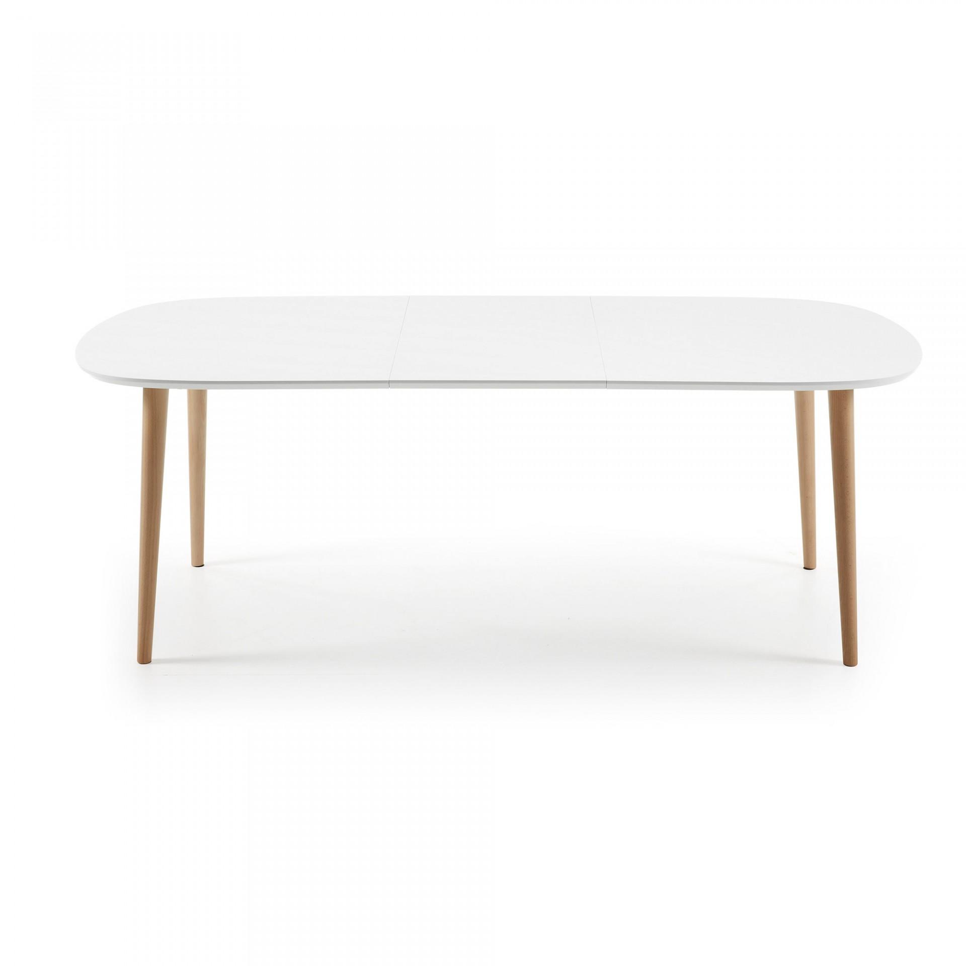 Mesa extensível Oki, oval, madeira faia/MDF lacado