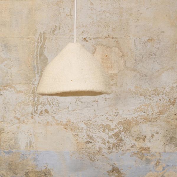 Candeeiro de tecto reversível, lã de feltro, branco, Ø22x16
