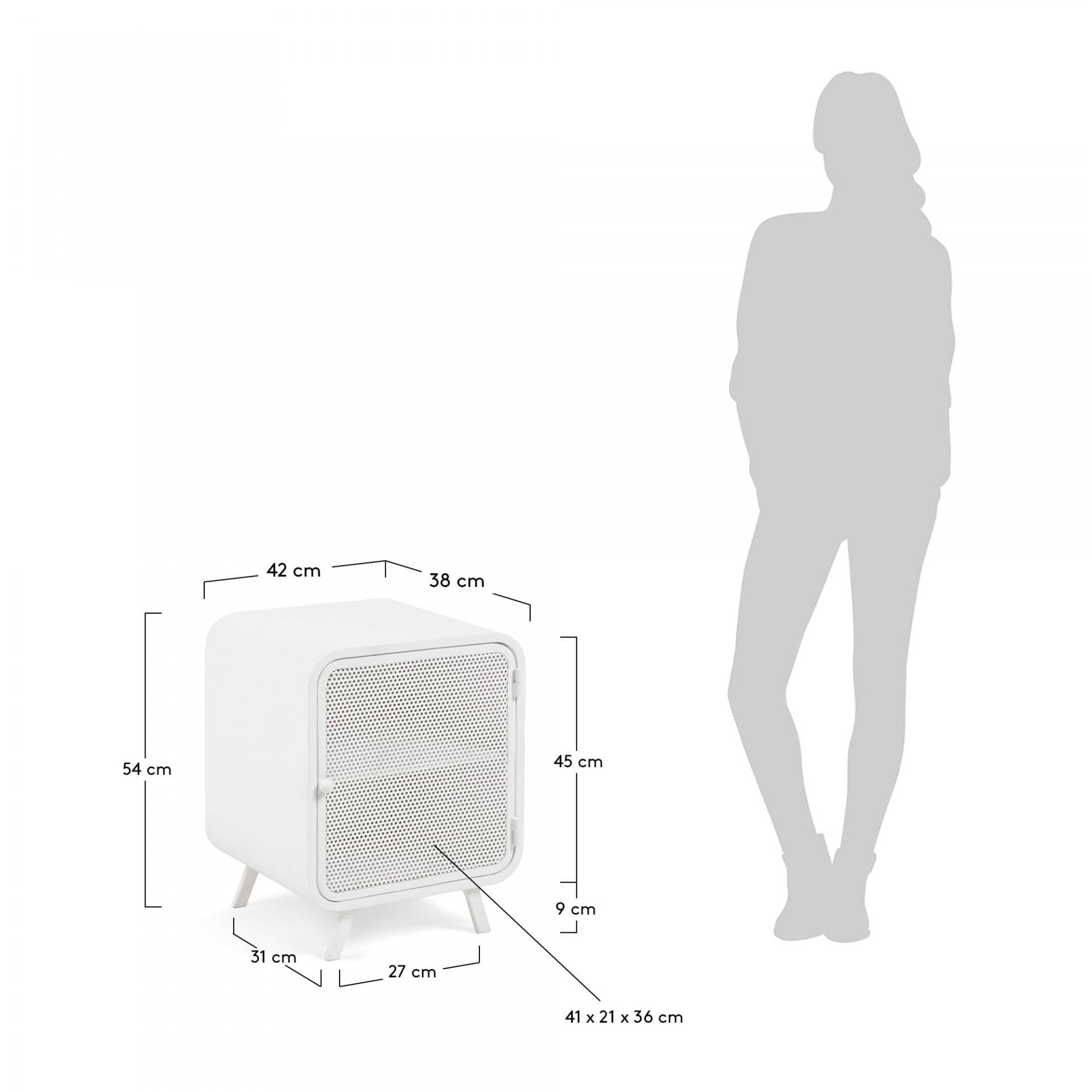Mesa de cabeceira Rito, metal, branco, 42x54