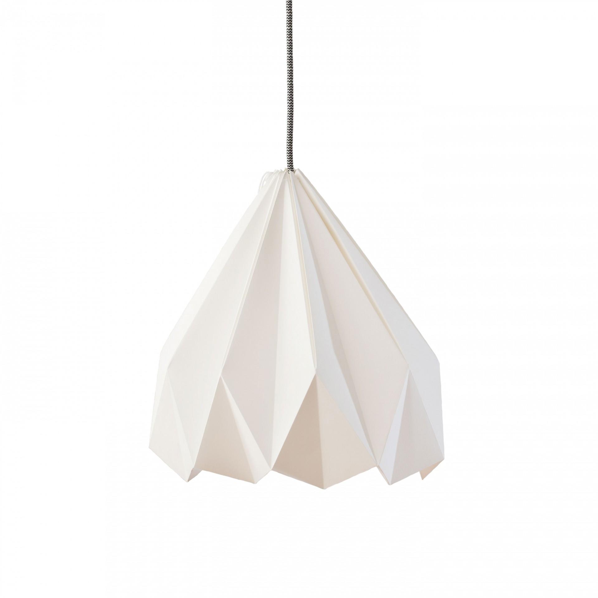 Abajur de papel Origâmi, modelo Lusco, branco