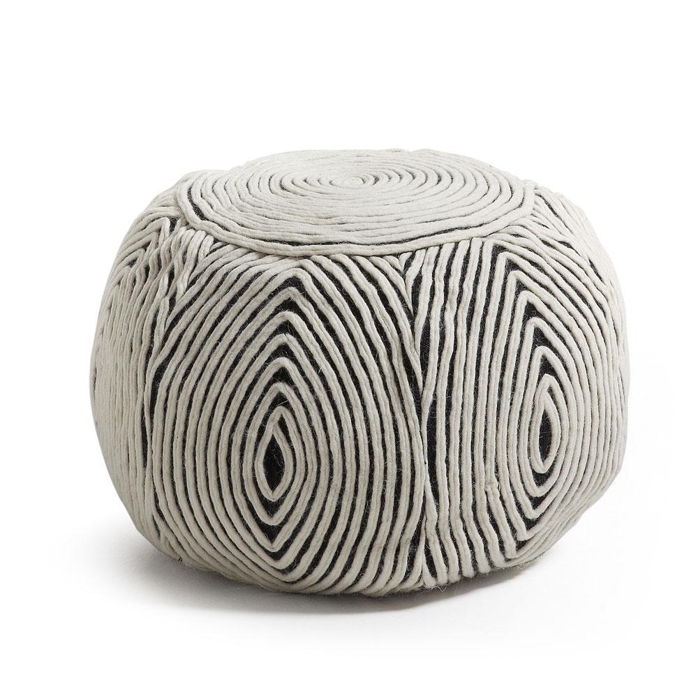 Pufe Lyna, lã natural, removível, Ø50x35