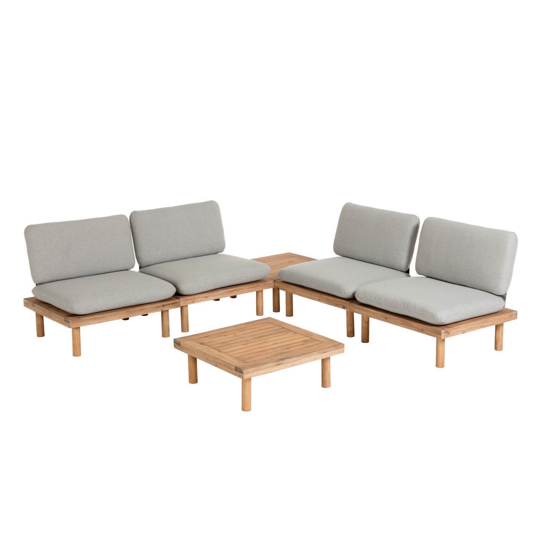Conjunto Virdis, 4x cadeirões, 2x mesas, madeira de acácia, cinza