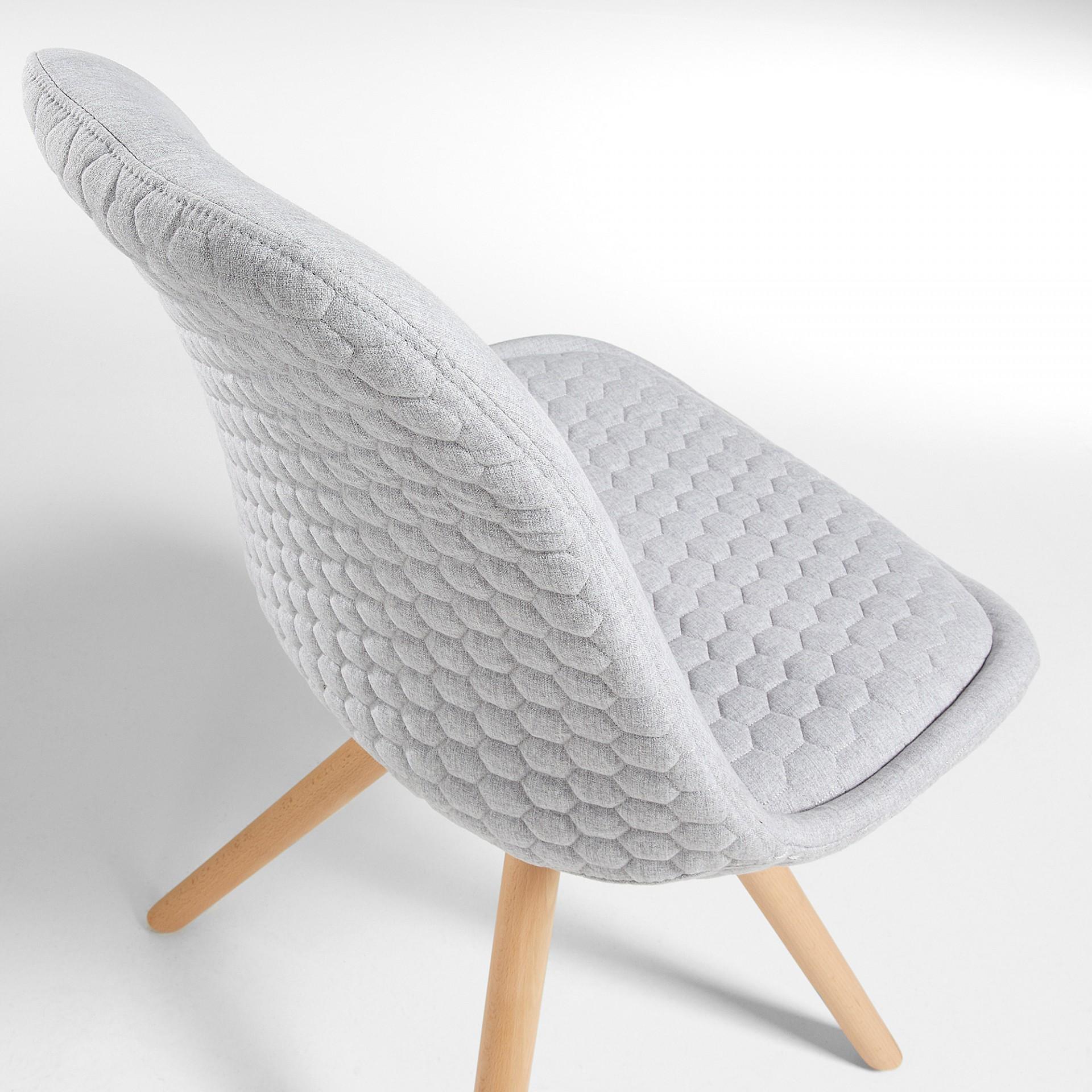 Cadeira Lara, assento acolchoado, cinza