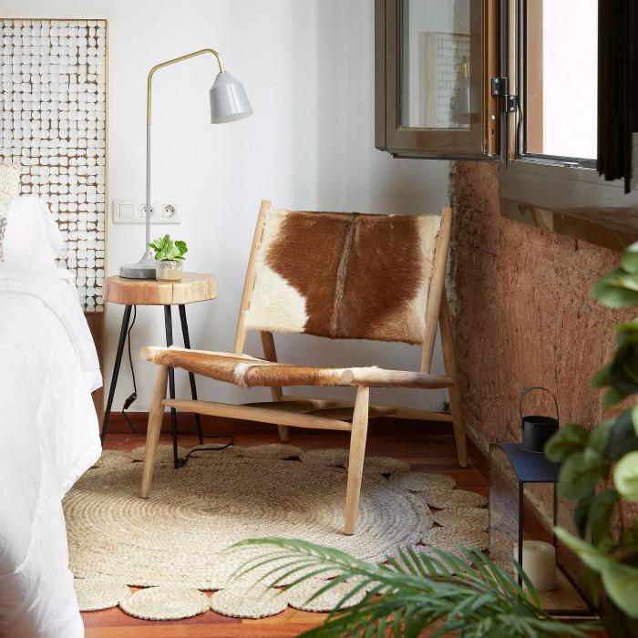Mesa de apoio Heidi, madeira de acácia/metal, Ø34X40