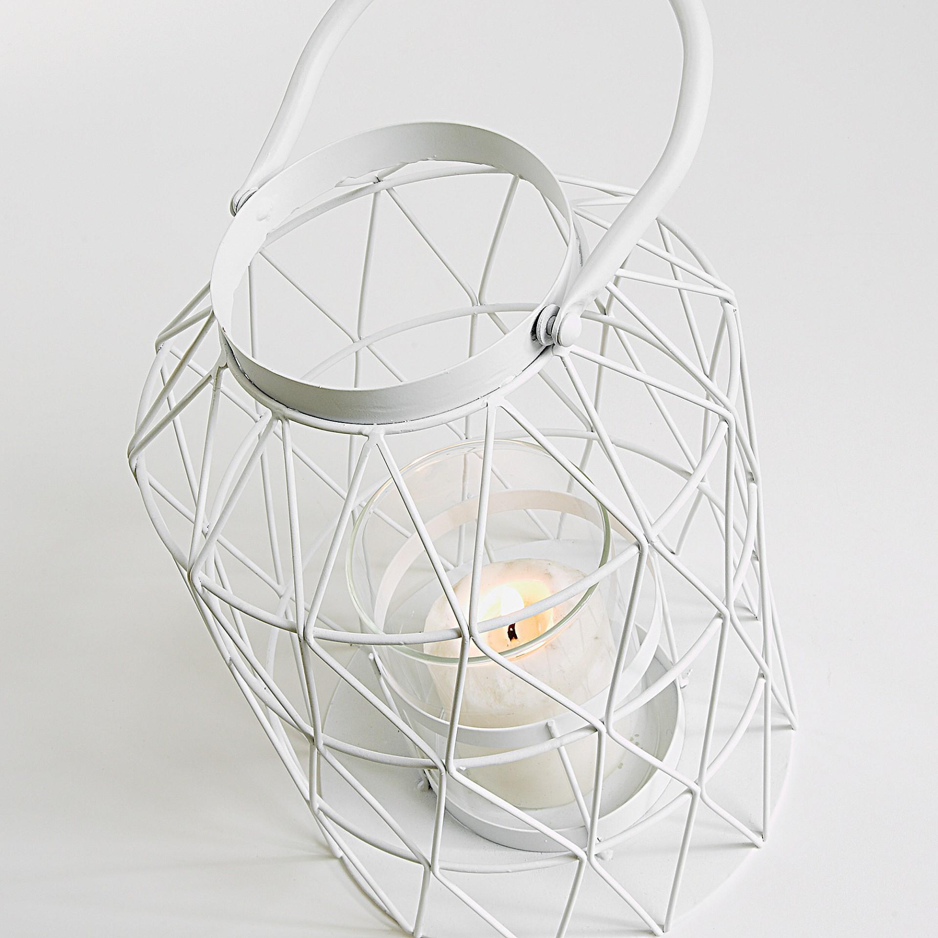 Lanterna decorativa, metal, branco, Ø18x38