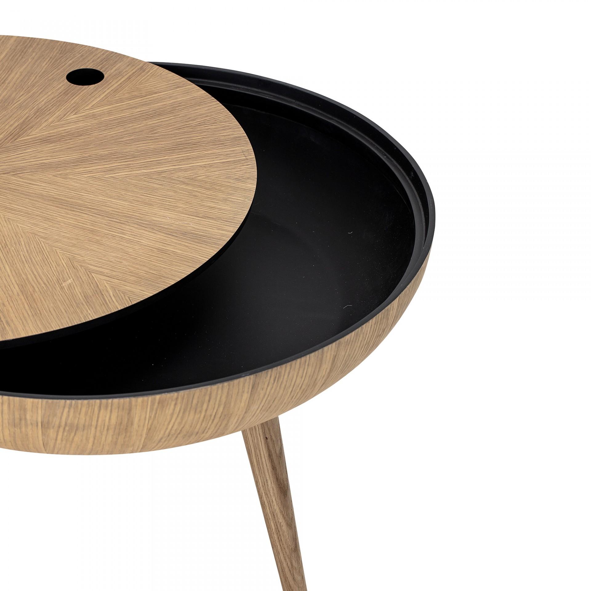 Mesa de centro Ronda, madeira de carvalho natural, Ø60x40