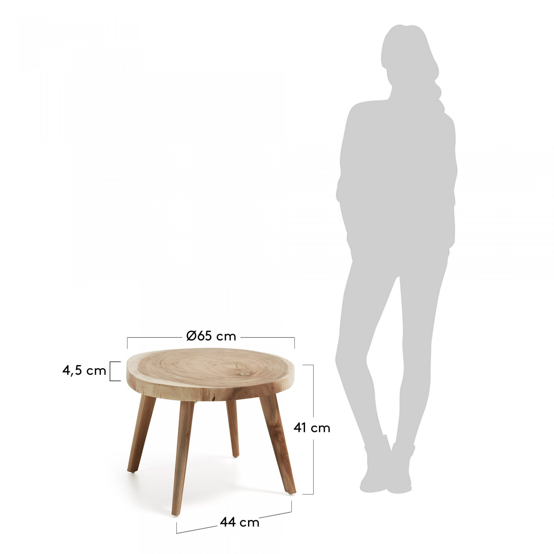 Mesa de apoio Weel, madeira Munggur natural, Ø65x41