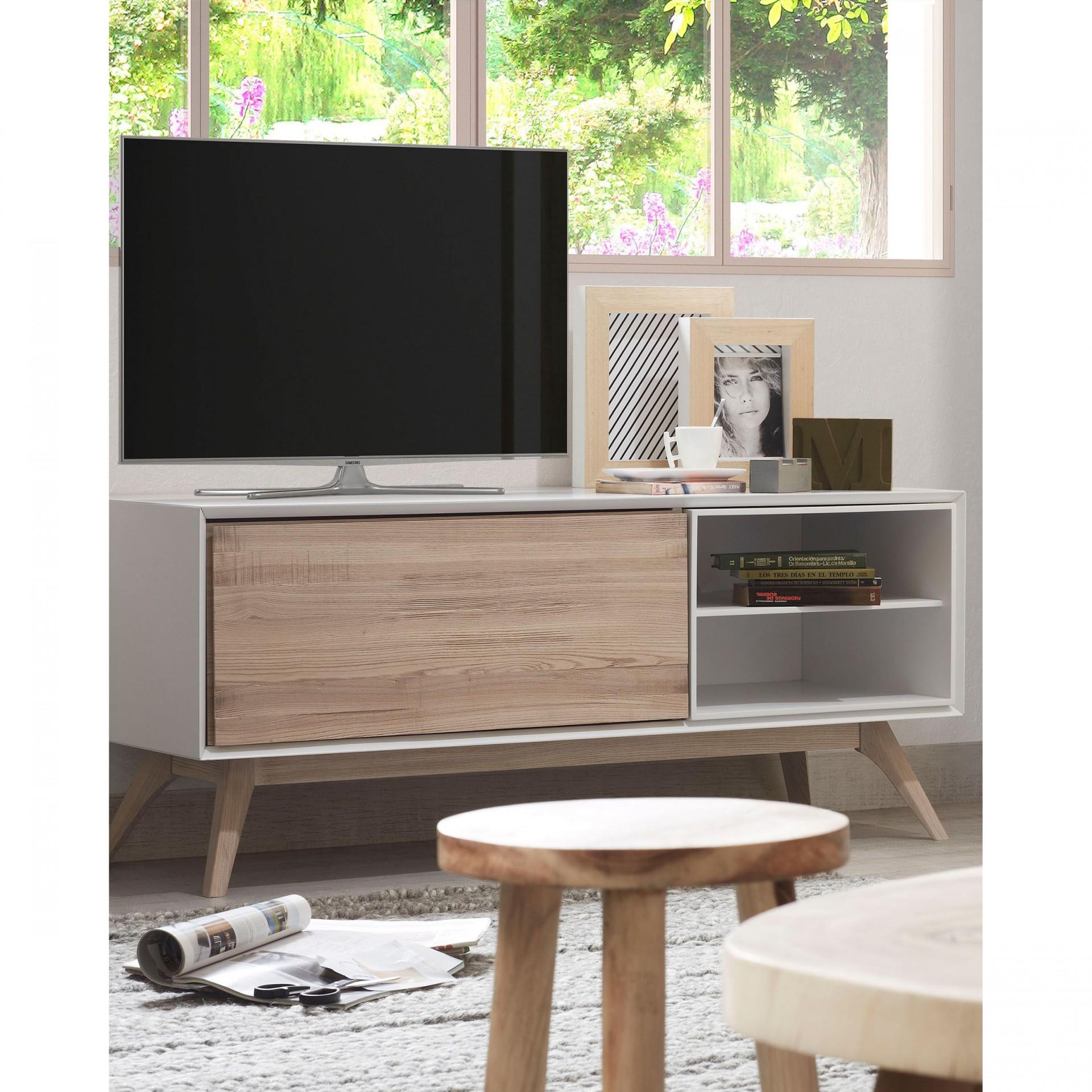 Móvel TV Emmi, madeira de freixo/MDF lacado, 134x56
