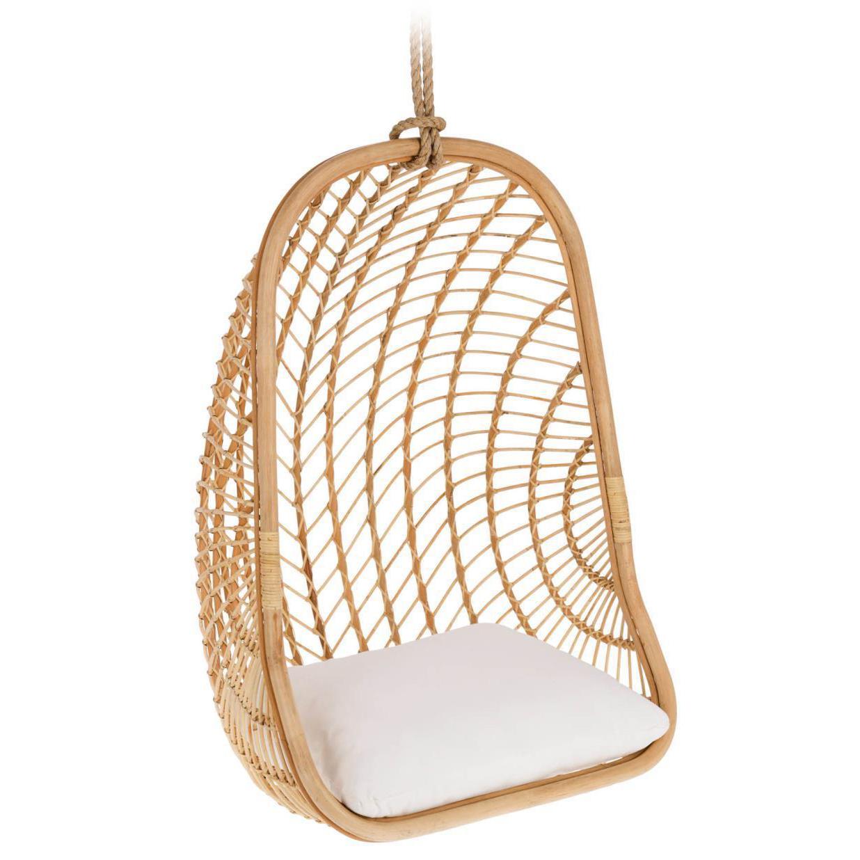 Cadeira suspensa Katerin, rattan natural, 85x124