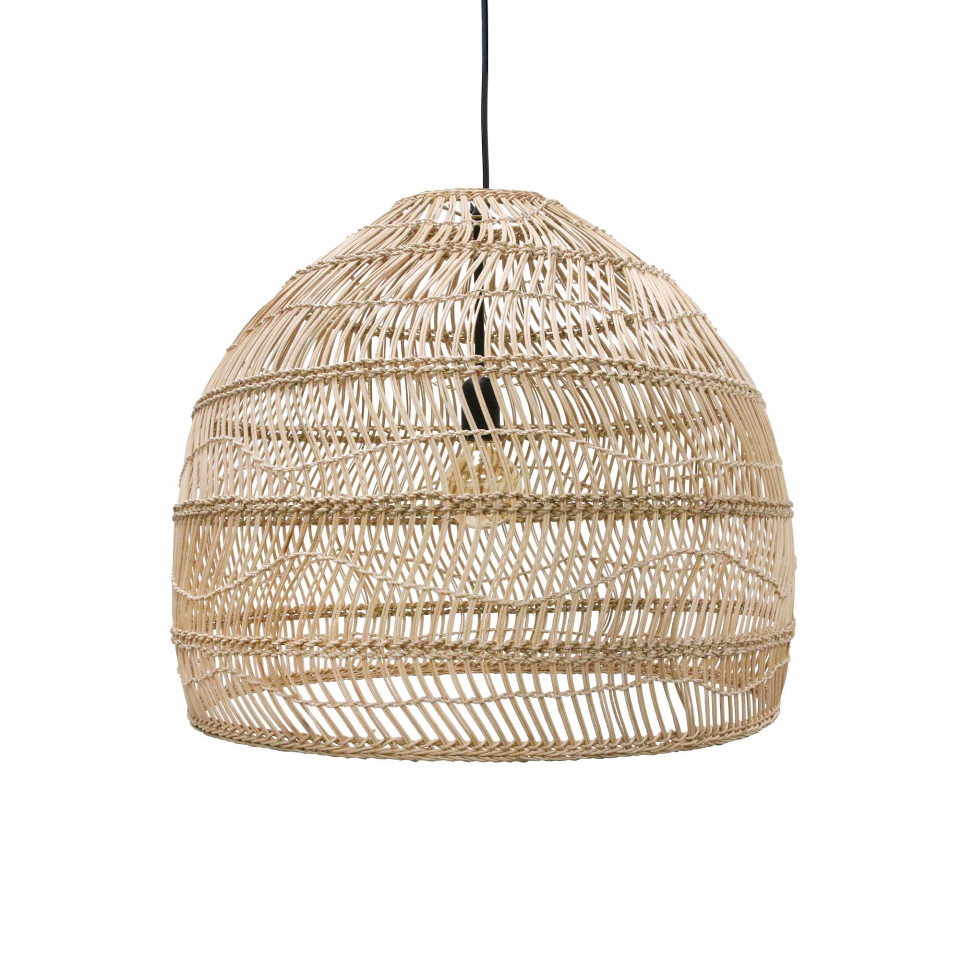 Candeeiro de tecto Balli, rattan natural, Ø60x50