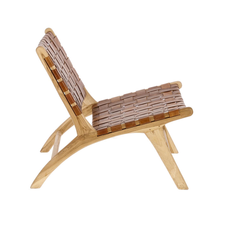 Cadeira Calita, madeira teca/couro natural