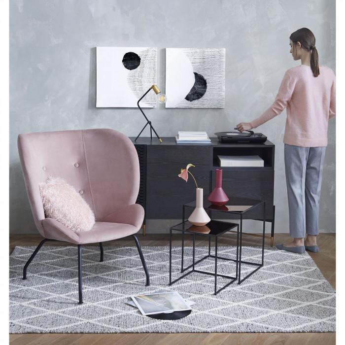 Jarra Nicol, cerâmica, rosa, Ø15x25