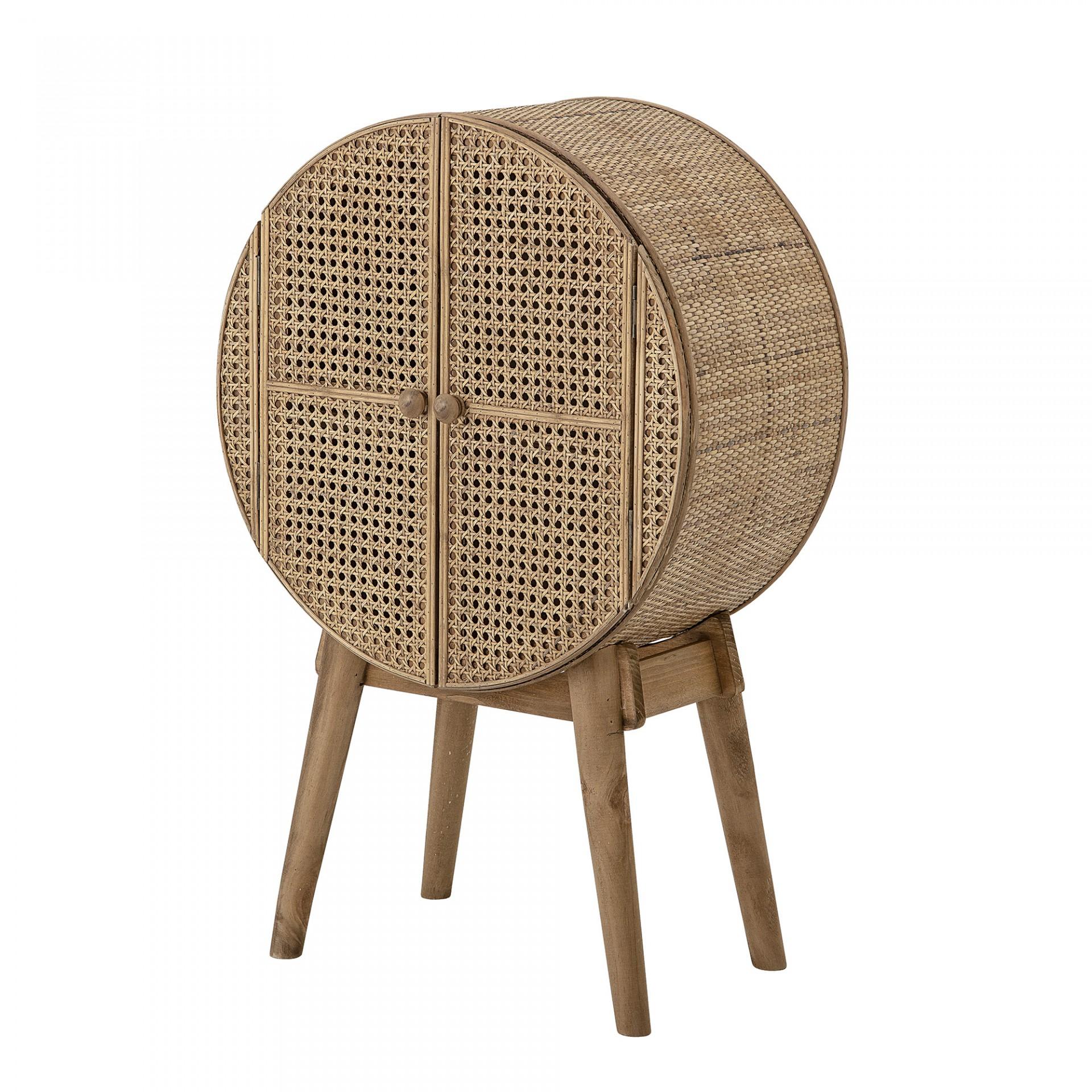 Armário Otto, madeira de pinho abeto/rattan natural, 52x80