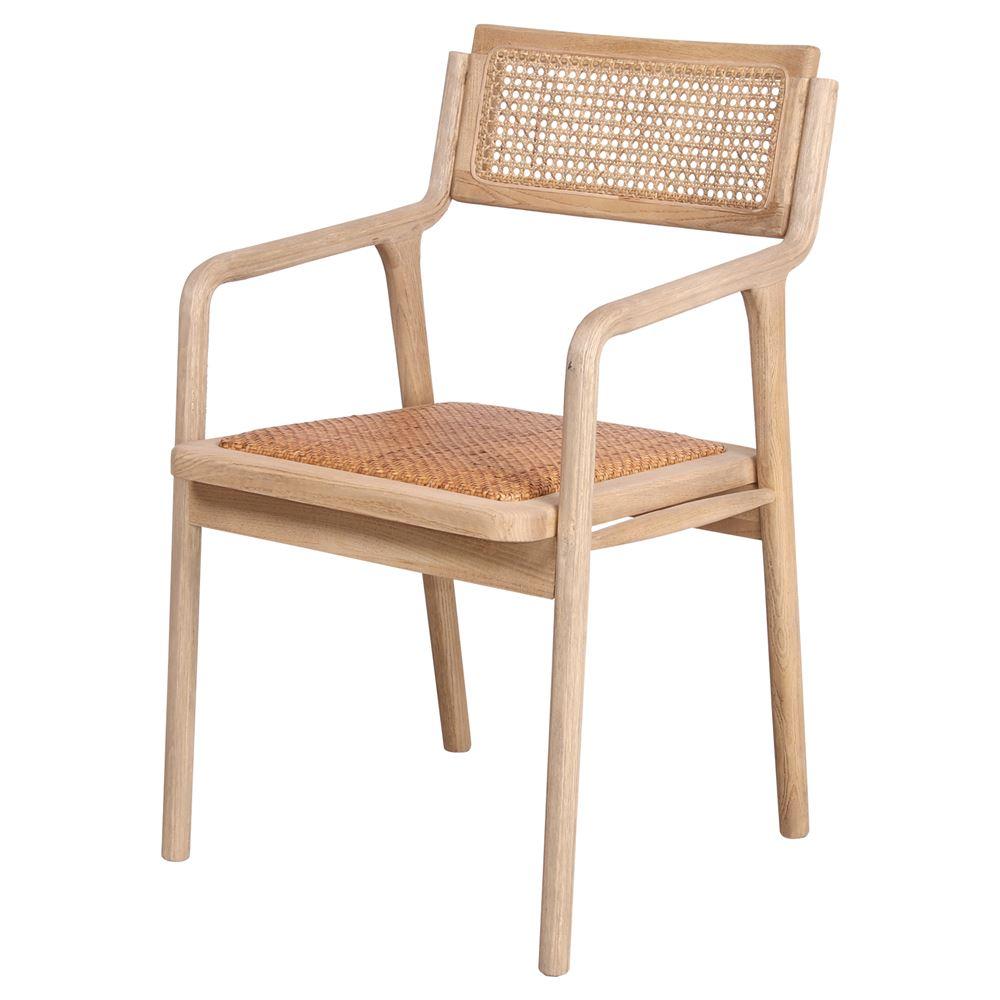 Cadeira Izzo, madeira de olmo/rattan, 56x51x85
