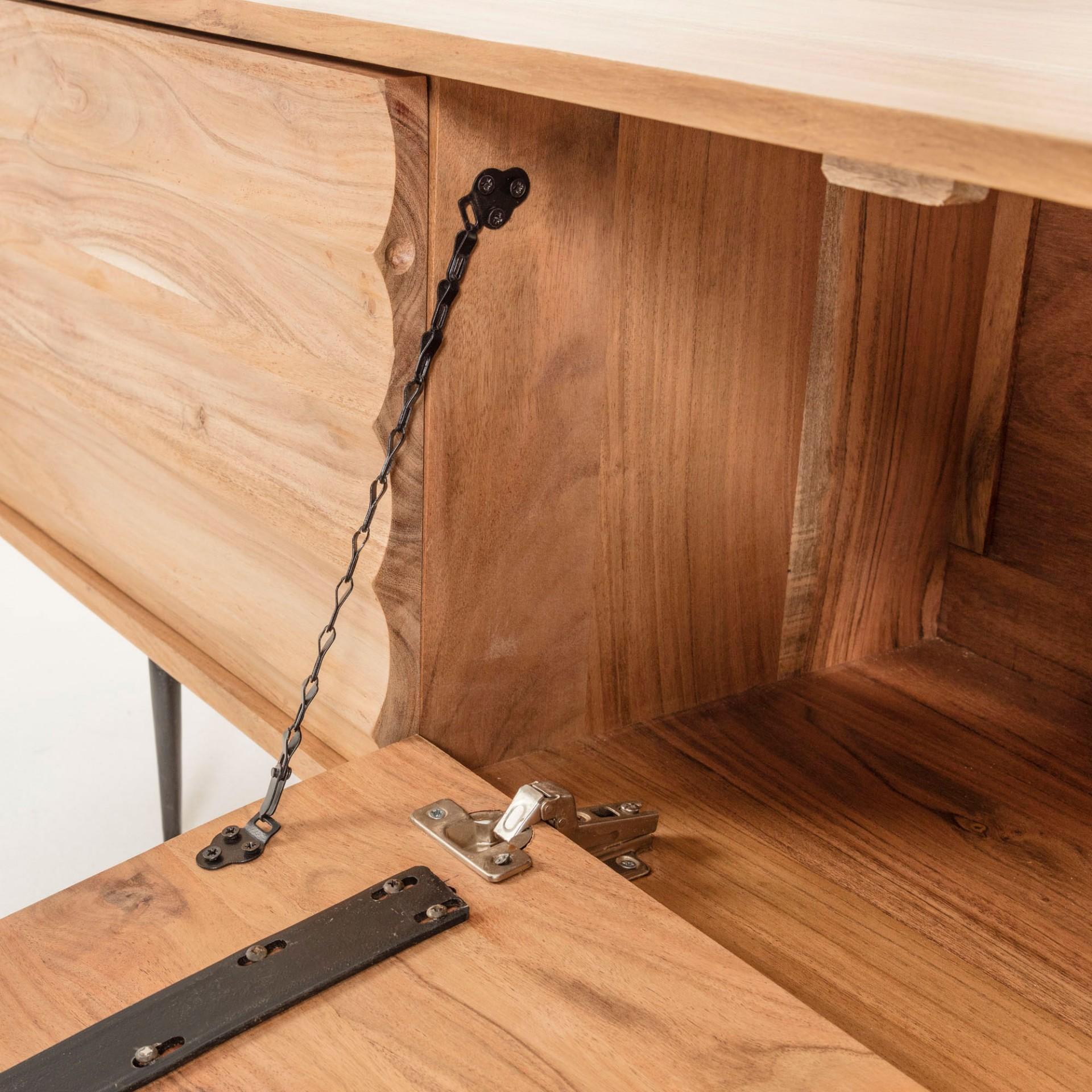 Móvel TV Delie, madeira de acácia natural, 147x38x50