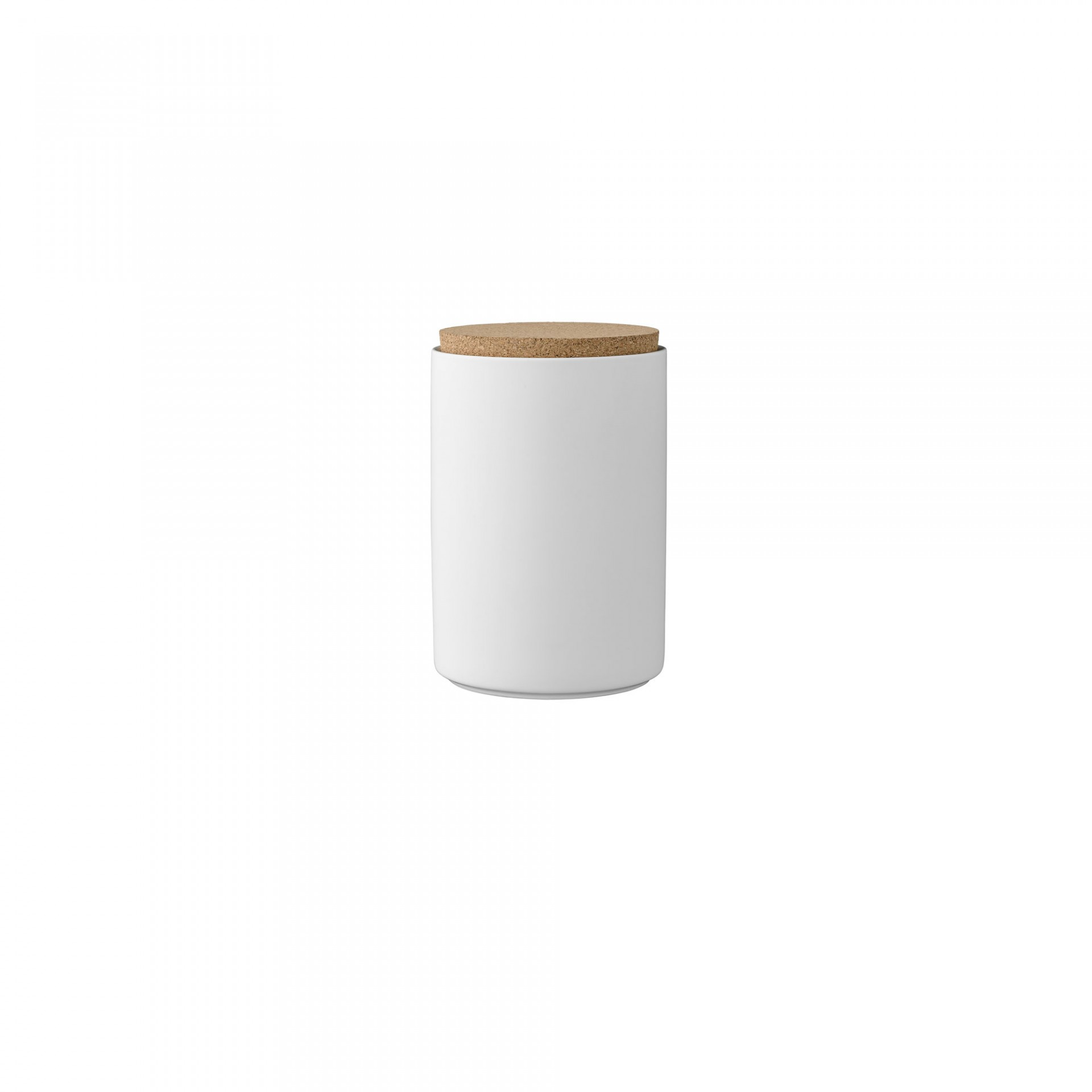 Pote em porcelana c/tampa de cortiça, branco, Ø11x16