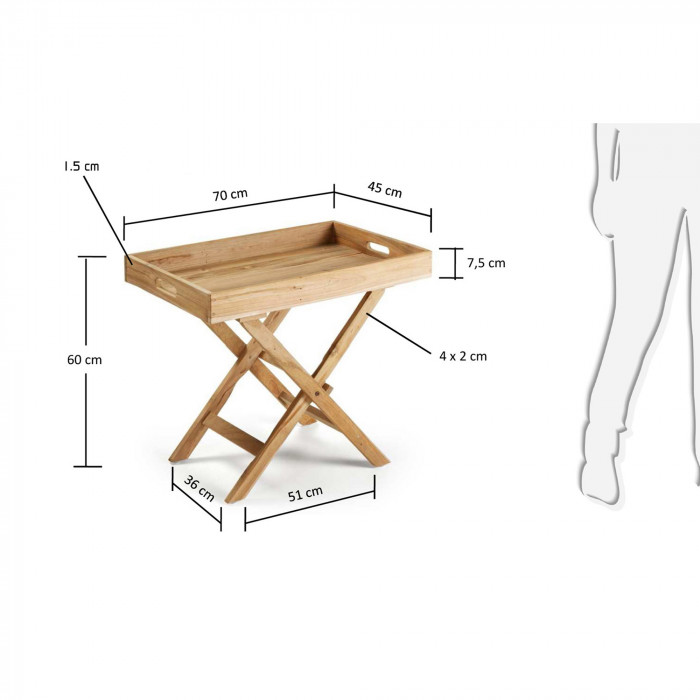 Mesa Trace, dobrável, madeira teca natural, 70x45x60