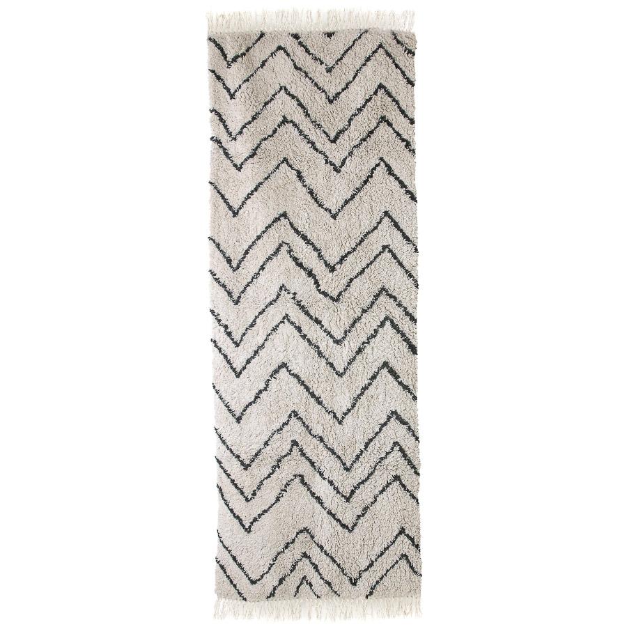 Tapete Zig Zag, algodão, branco/preto, 220x75