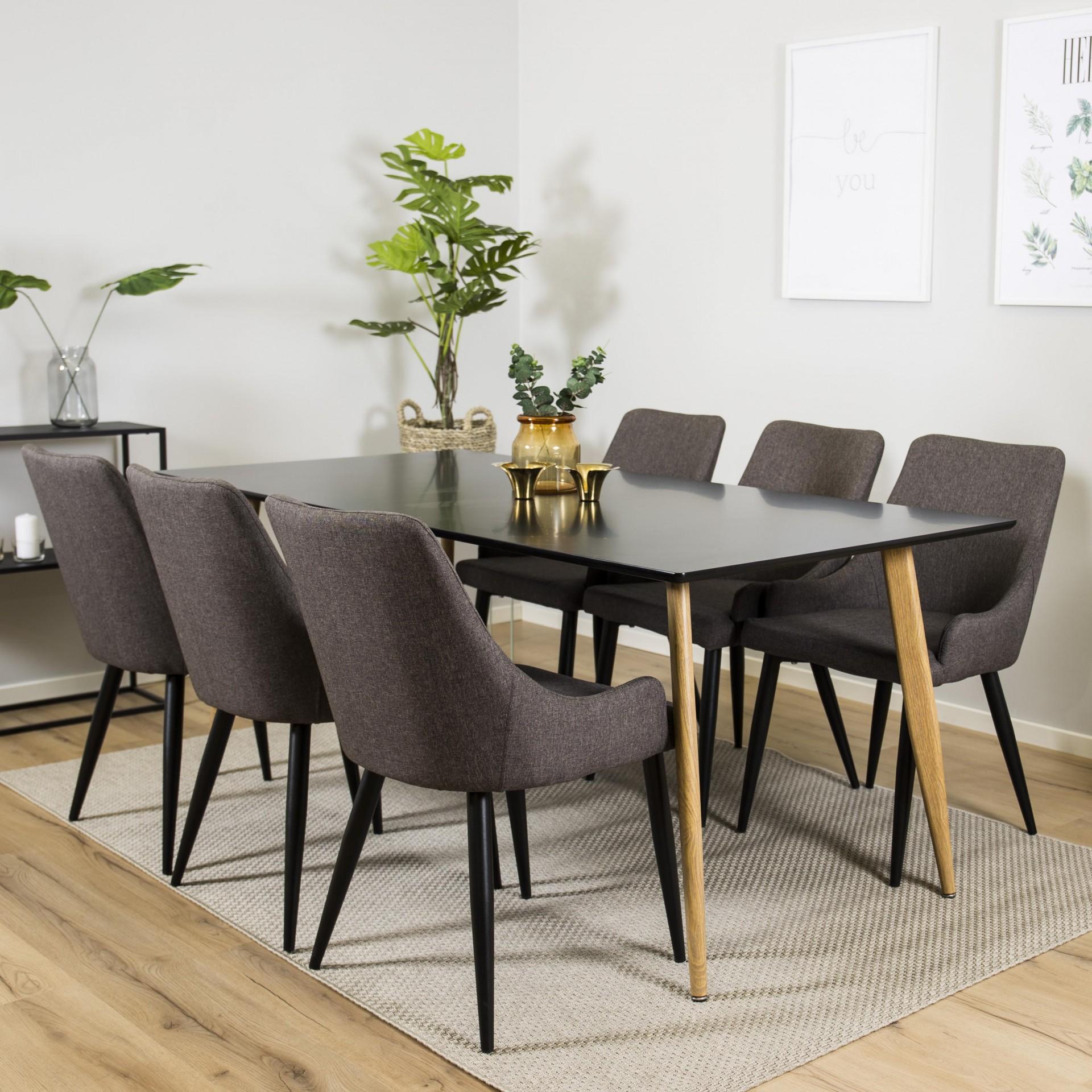 Mesa de jantar Polar, MDF/metal, preto, 180x90