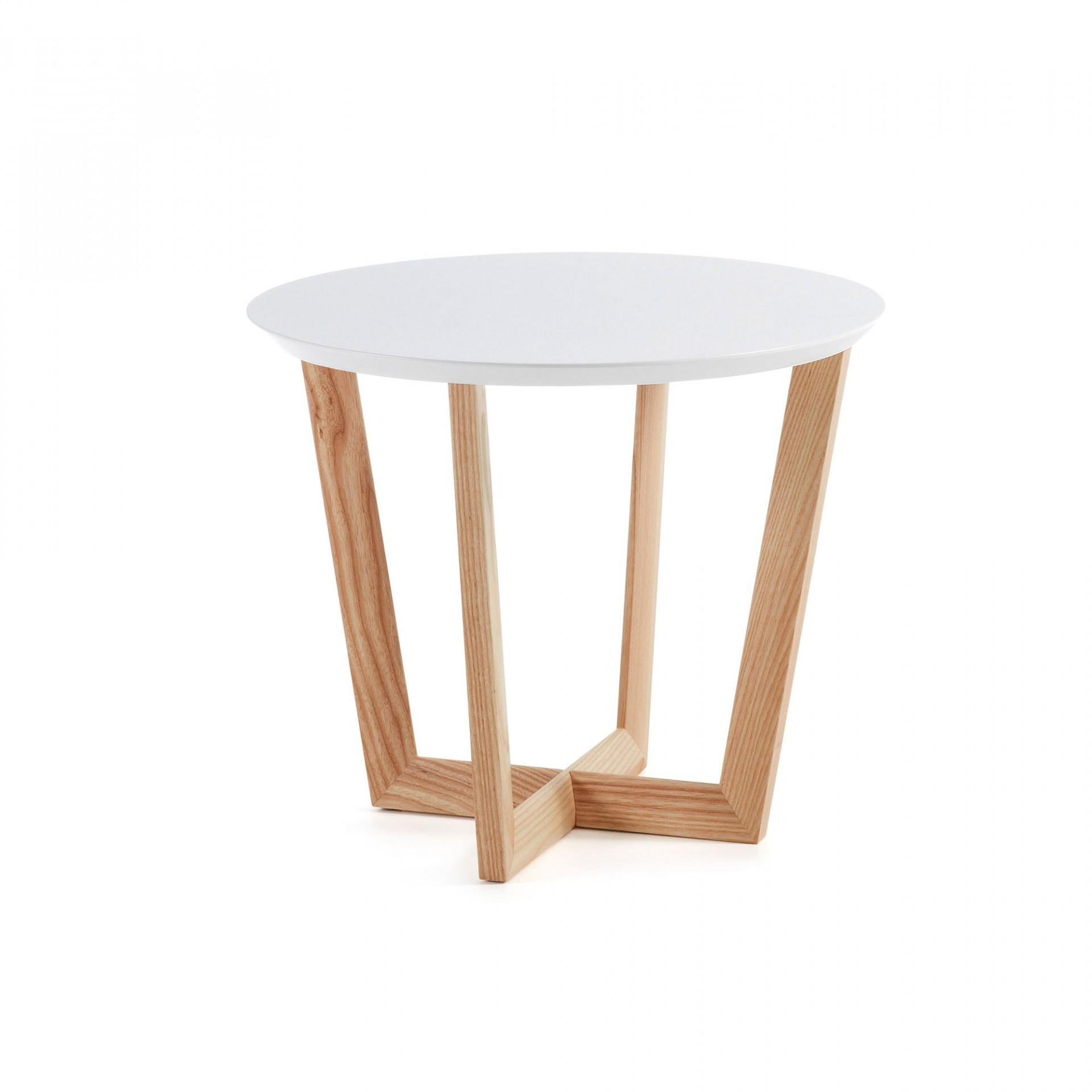 Mesa de apoio Hedi, madeira de freixo/MDF lacado, Ø60x50