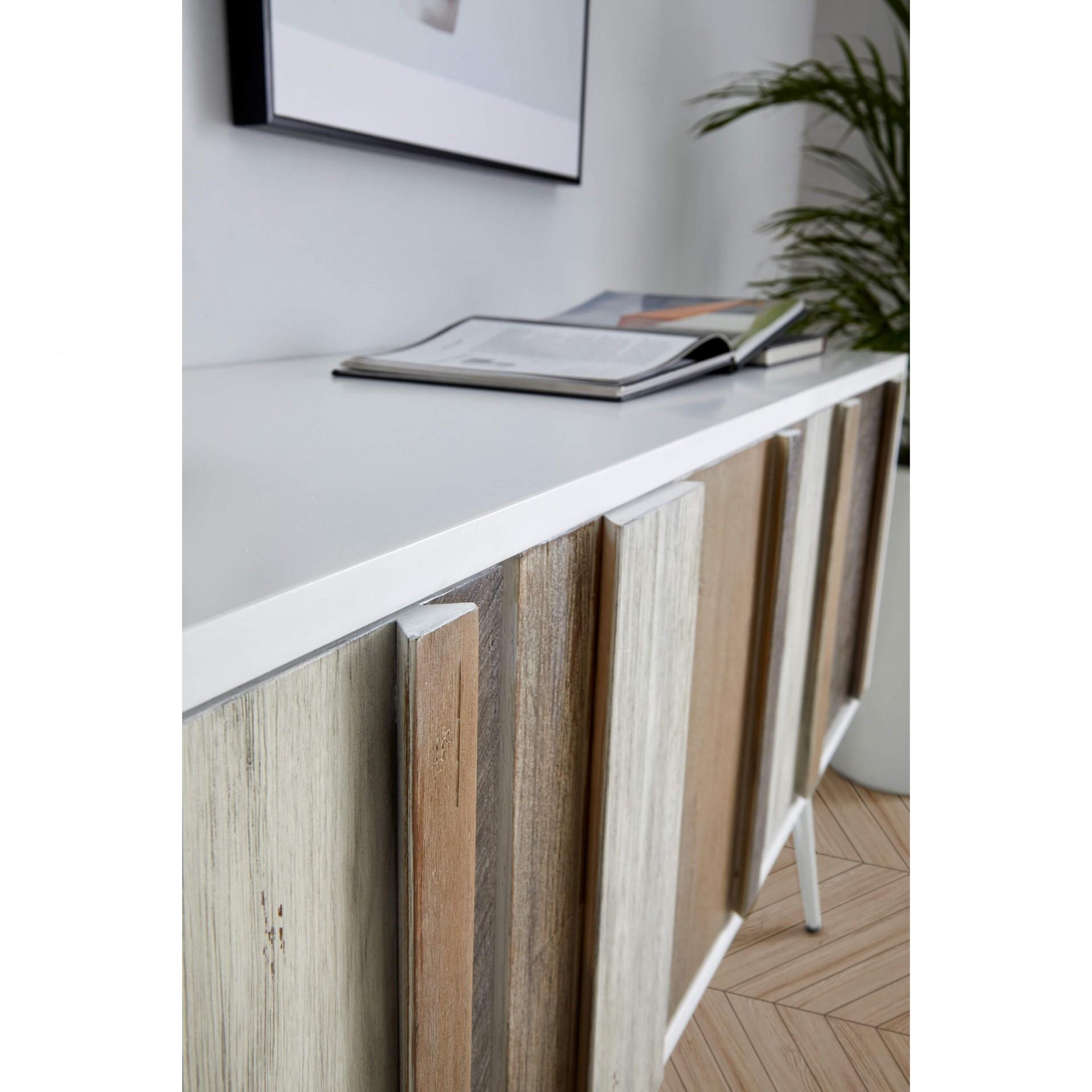 Aparador Nice, MDF lacado/madeira de acácia, 155x80