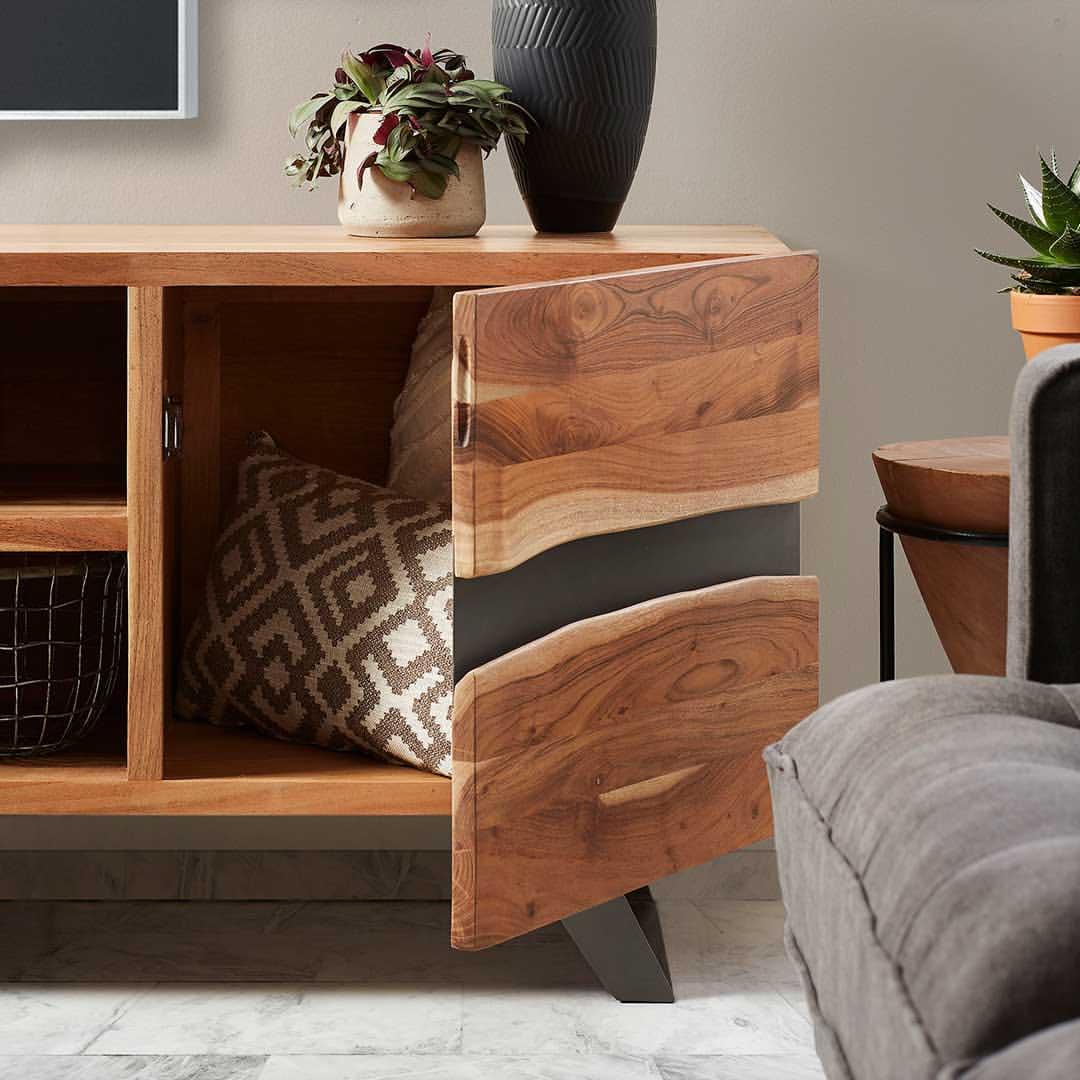 Móvel TV Ixia, madeira de acácia natural, 160X43X65