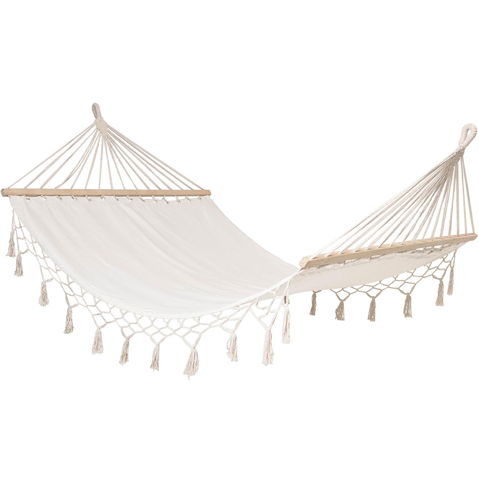 Cama de rede c/franjas, branco, 190x105