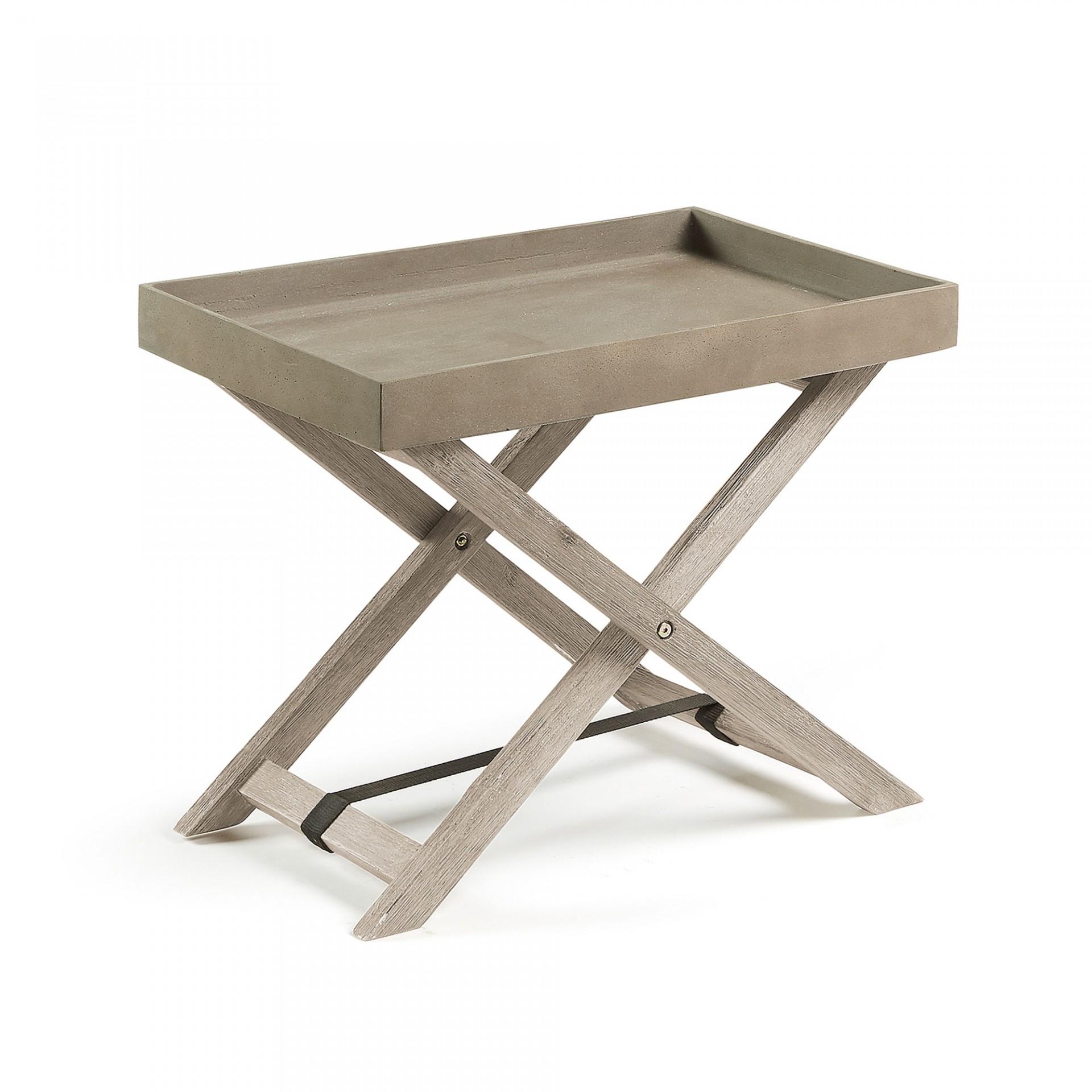 Mesa Méria, dobrável, madeira de acácia/poli-cimento