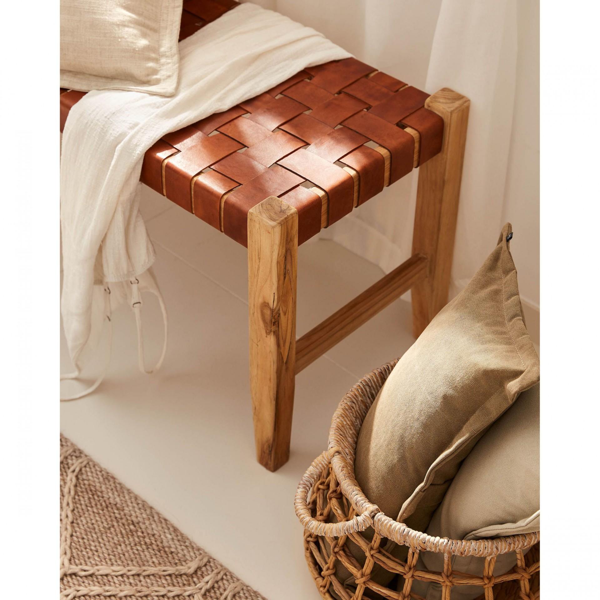 Banco de apoio Calita, madeira teca/couro natural