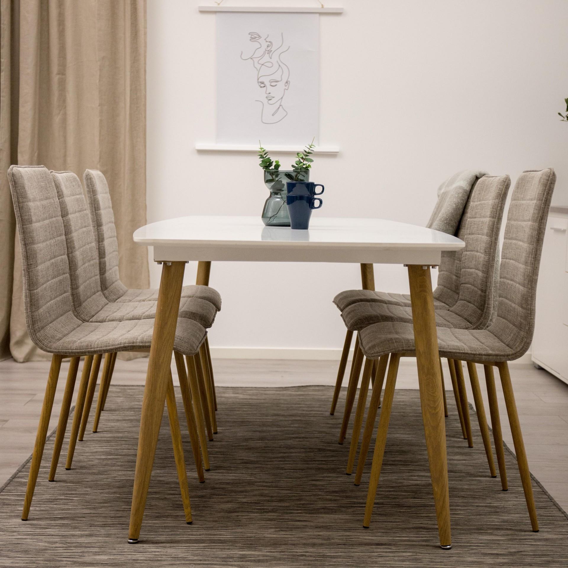 Mesa de jantar Polar, MDF/metal, branco, 240x100
