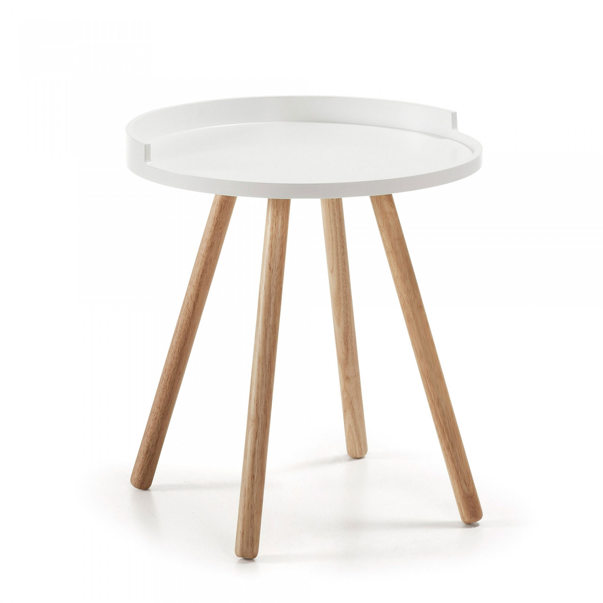 Mesa de apoio Kurt, madeira de seringueira/MDF lacado, Ø46x46