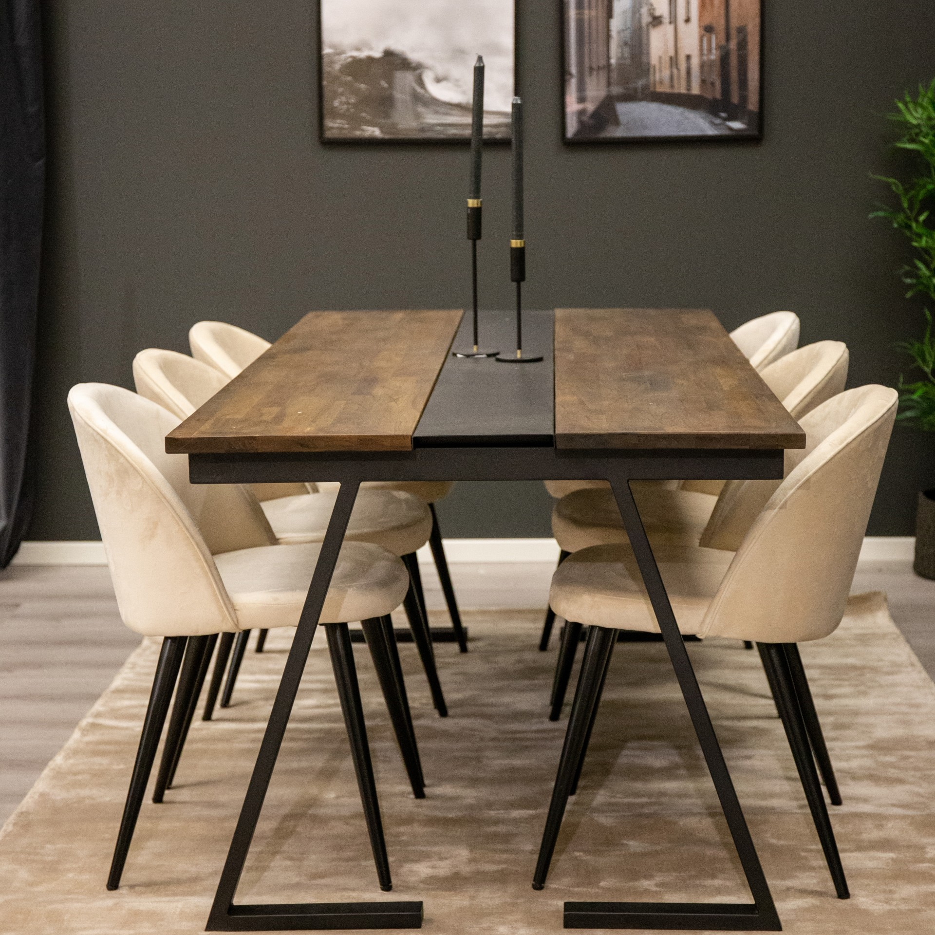 Mesa de jantar Jakarta, madeira teca/metal, 200x90