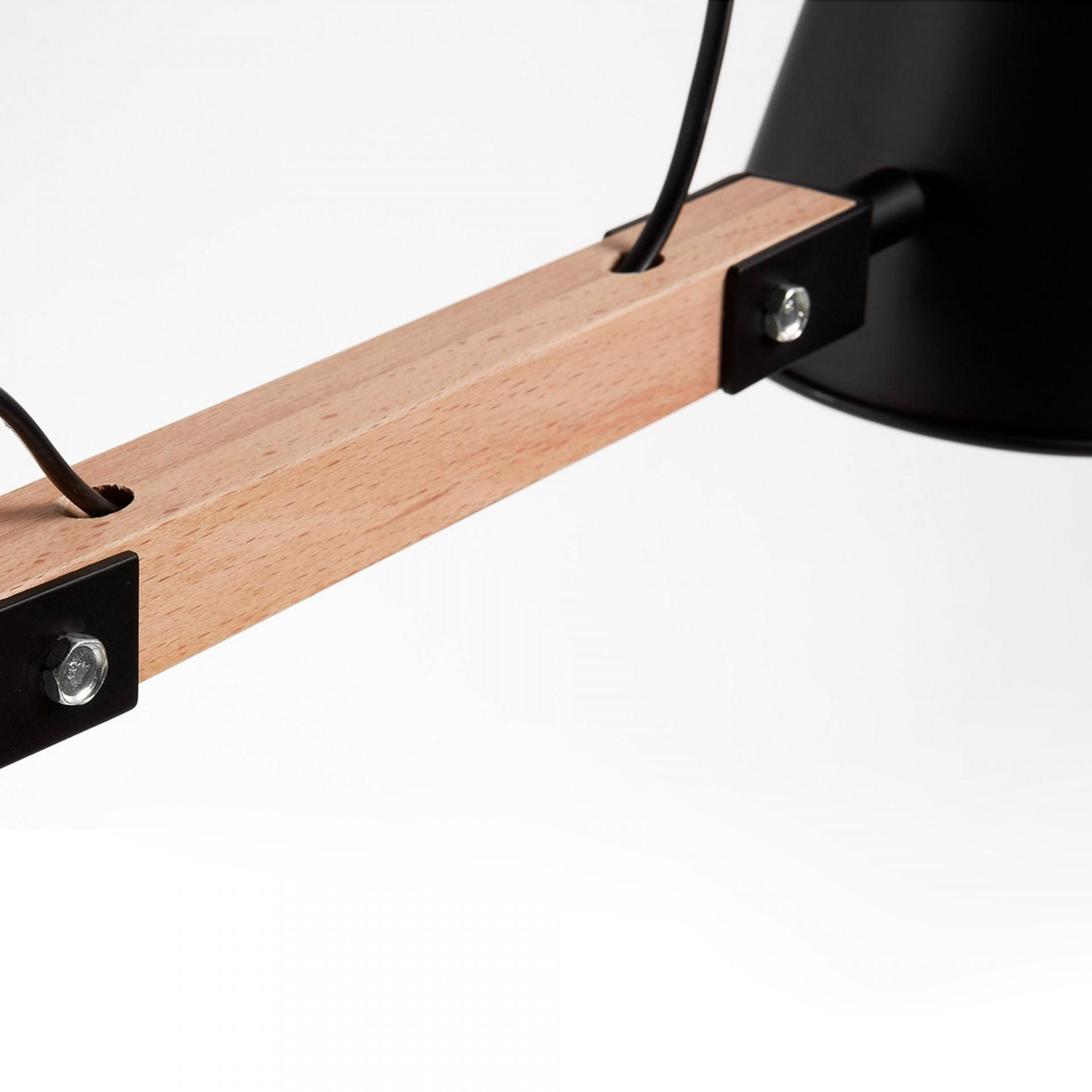 Candeeiro de mesa Andy, madeira/metal, Ø14x60