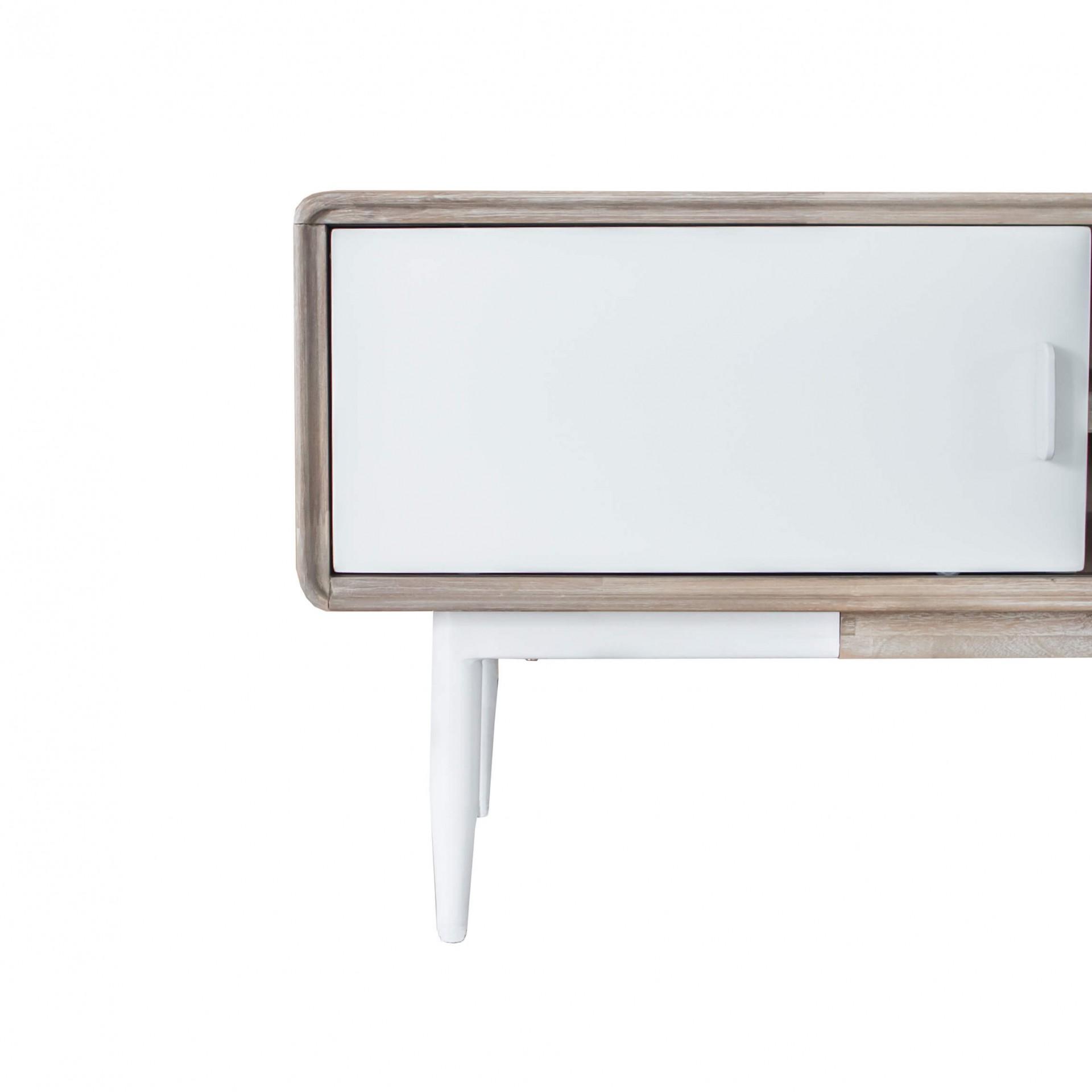 Móvel TV Florence, madeira de acácia/MDF lacado, 165x55